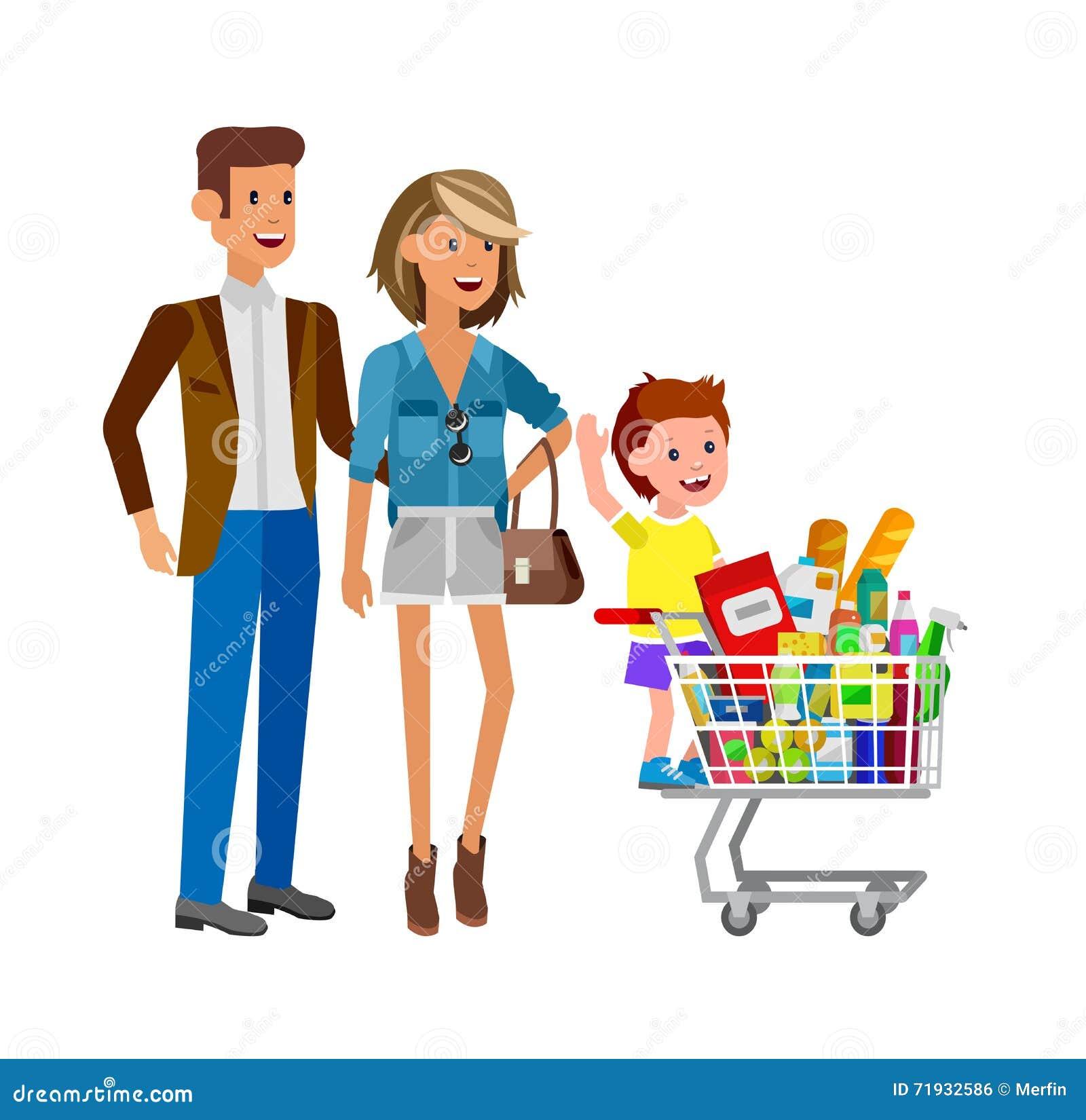 Магазин, иллюстрации вектора супермаркета плоские