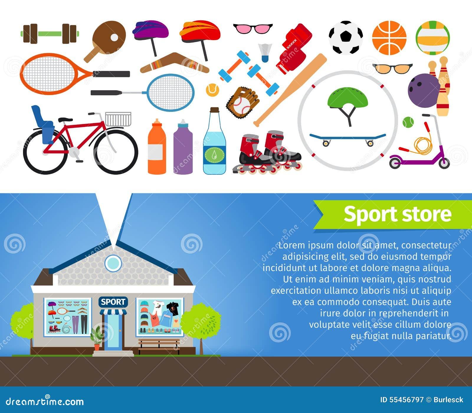 e27e6bca Магазин спорта Спортивный инвентарь и одежда спорт Иллюстрация ...