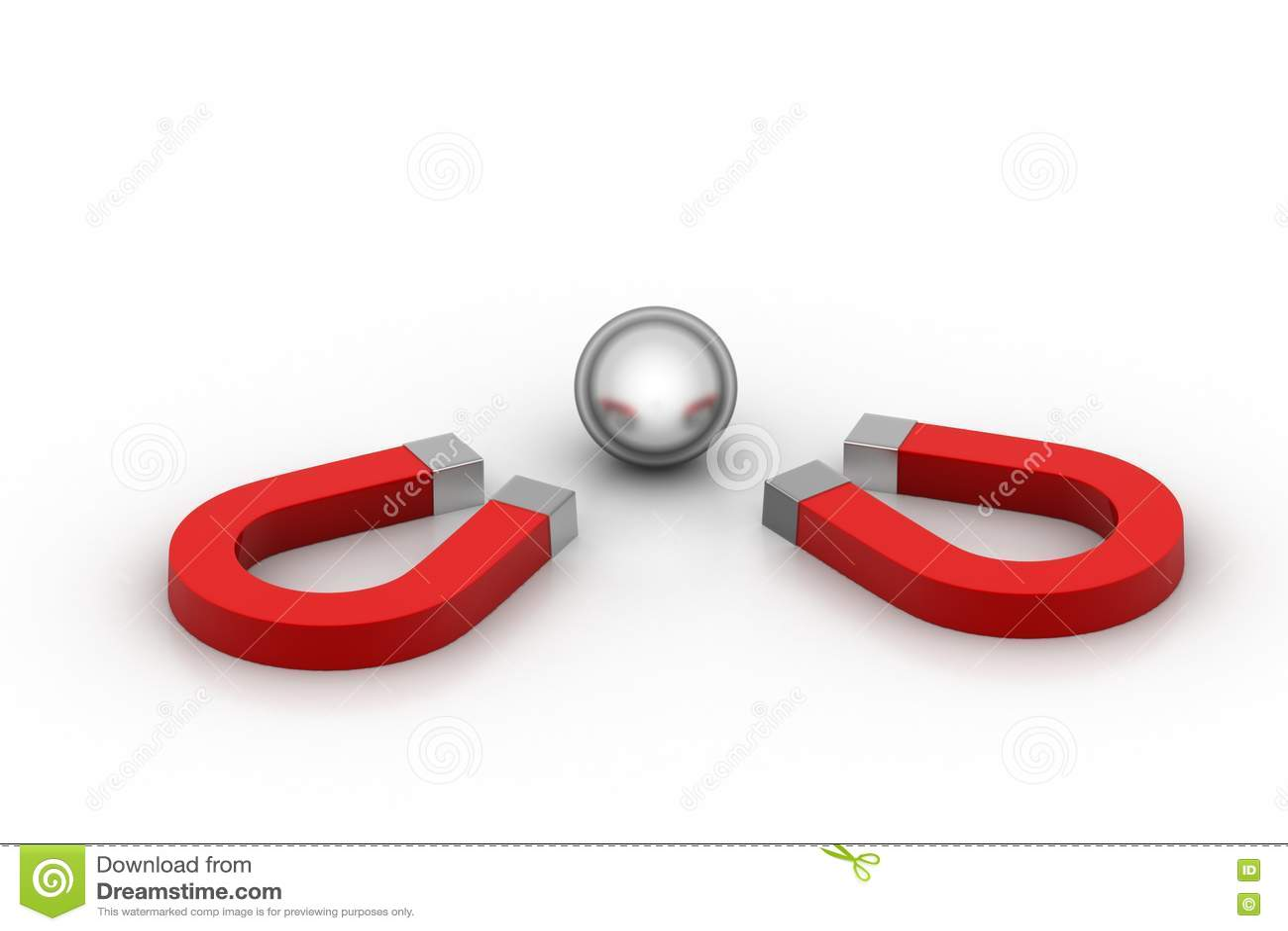 Магнит привлек стальные шарики, концепцию конкуренции