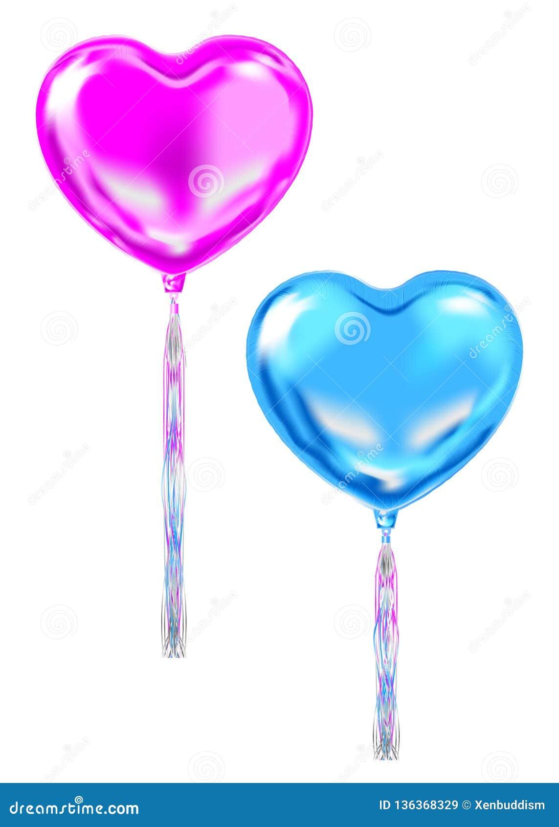 Маджента и голубые воздушные шары формы сердца фольги, символы воздуха любов