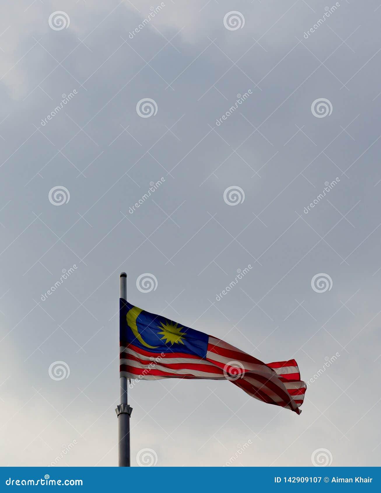 Малайзийский флаг развевая в голубом небе
