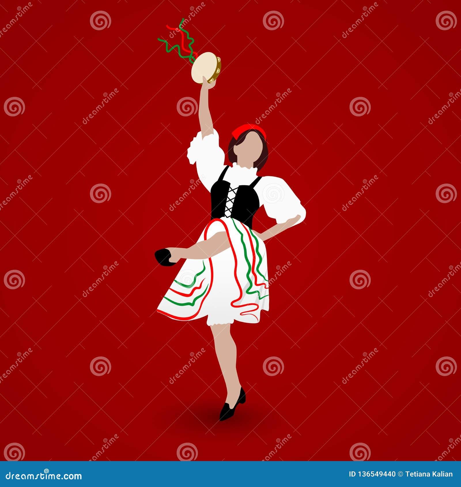 Маленькая девочка одетая в национальном костюме танцуя итальянский tarantella с тамбурин на красной предпосылке