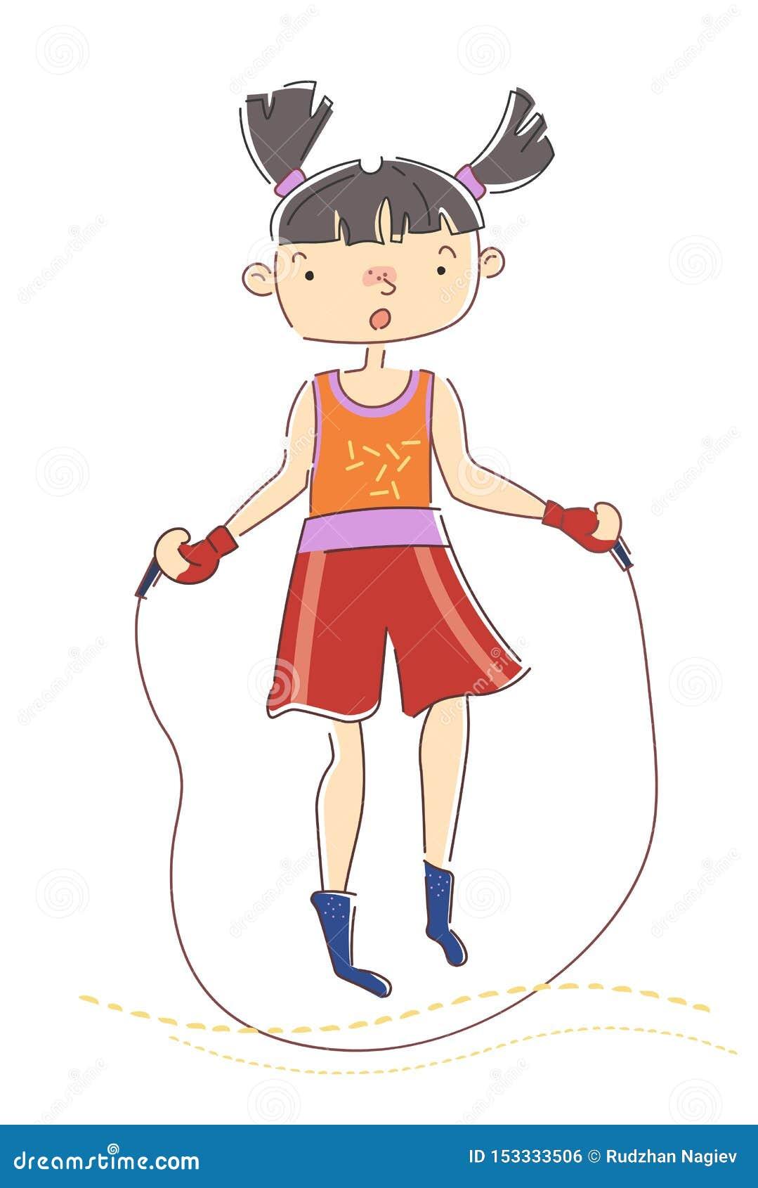 Маленькая девочка с отрезками провода прыгая над веревочкой по мере того как она нагревает для ее разминки в концепции здоровья,