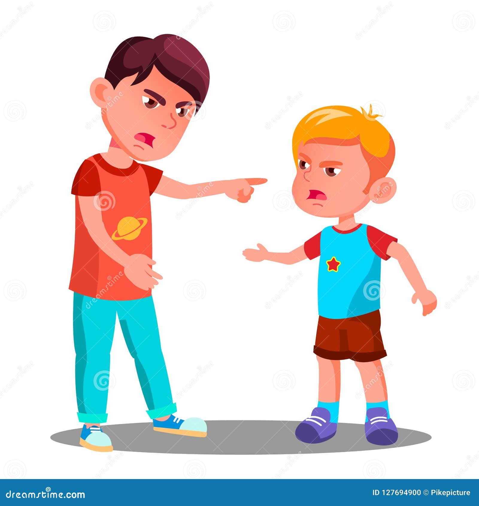 Маленькие дети в конфликте в векторе спортивной площадки спорит изолированная иллюстрация руки кнопки нажимающ женщину старта s