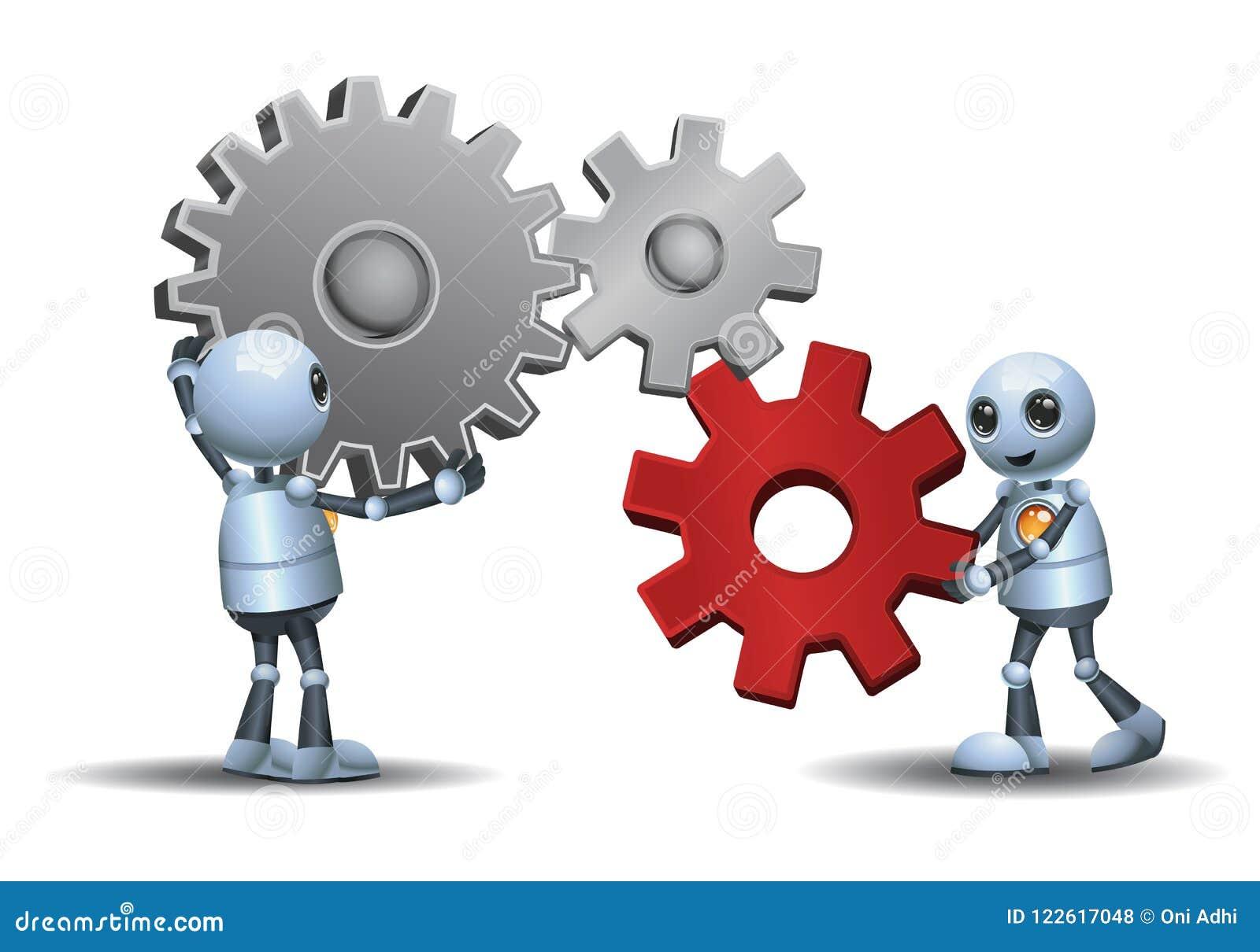 Маленькие роботы соединяя шестерни