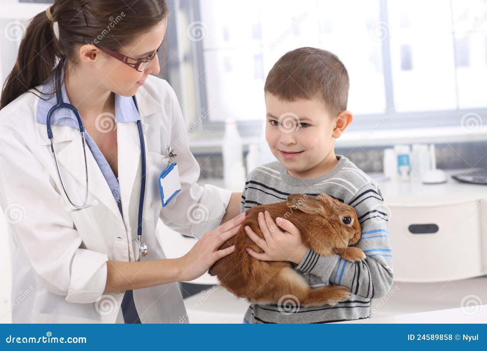 Маленький ребенок ветеринара помогая с кроликом