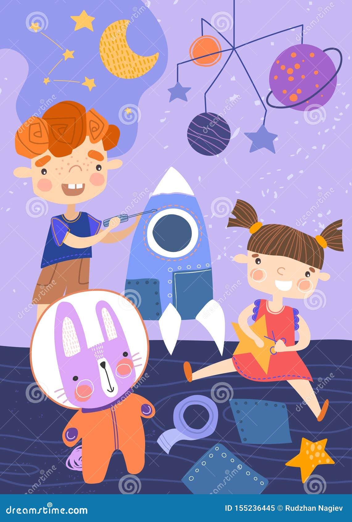 2 маленького ребенка играя с космическим кораблем, звездами и планетами и кроликом в костюме астронавта в их питомнике в a