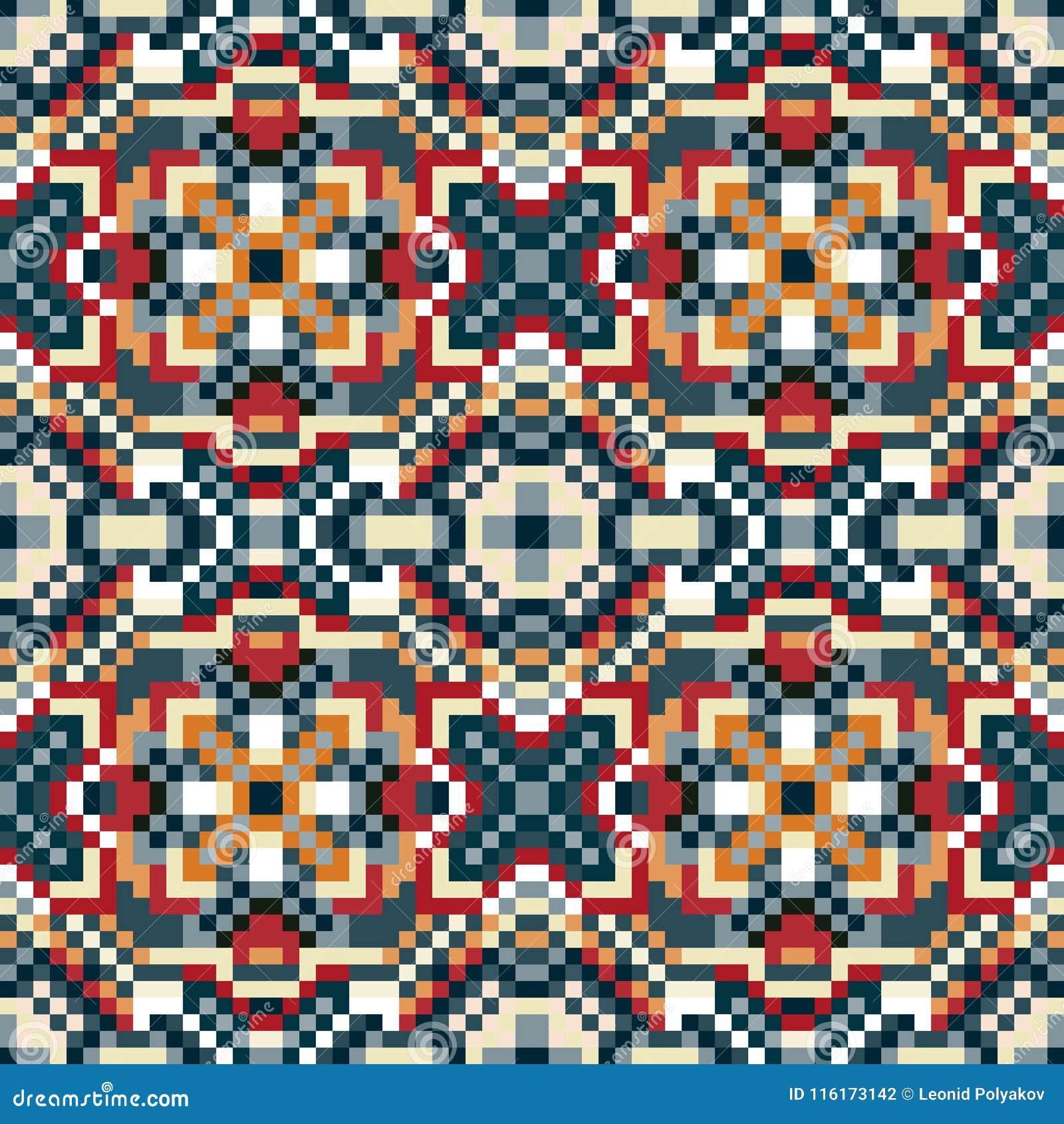 Малые пикселы покрасили иллюстрацию вектора картины геометрической предпосылки безшовную