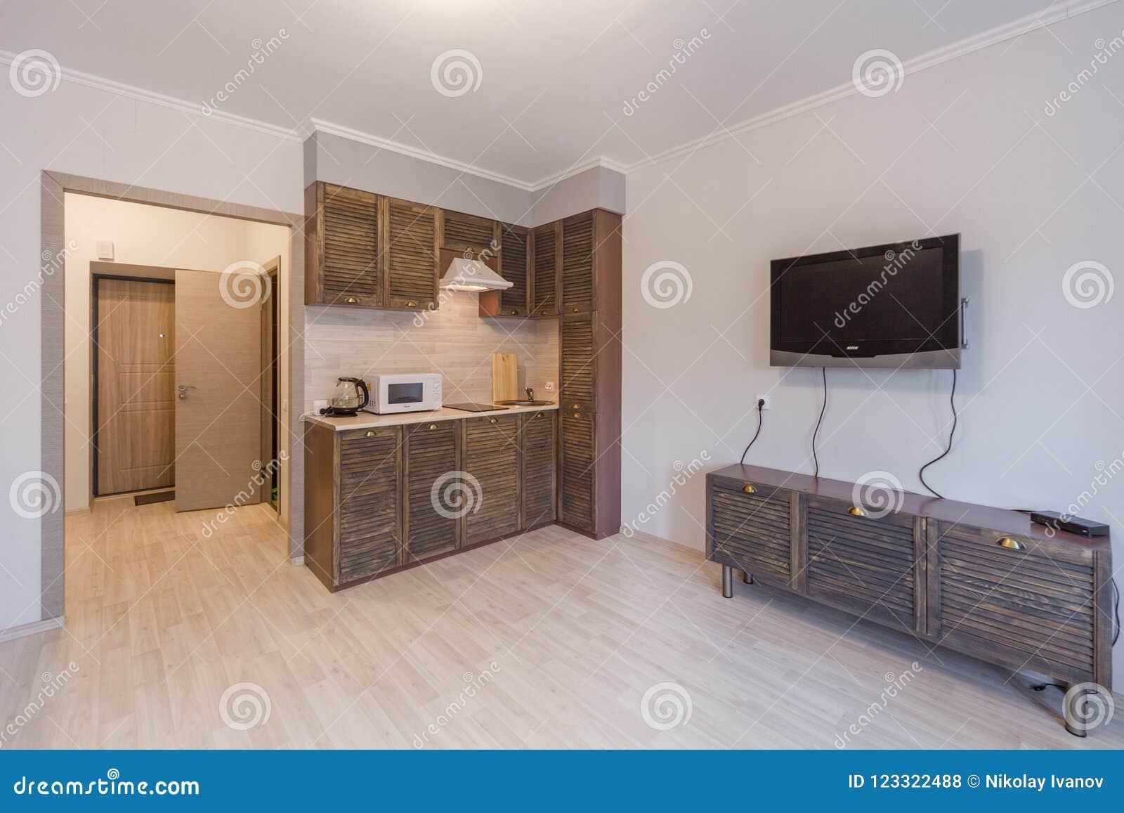 Малый интерьер hightech квартира-студии и кухни