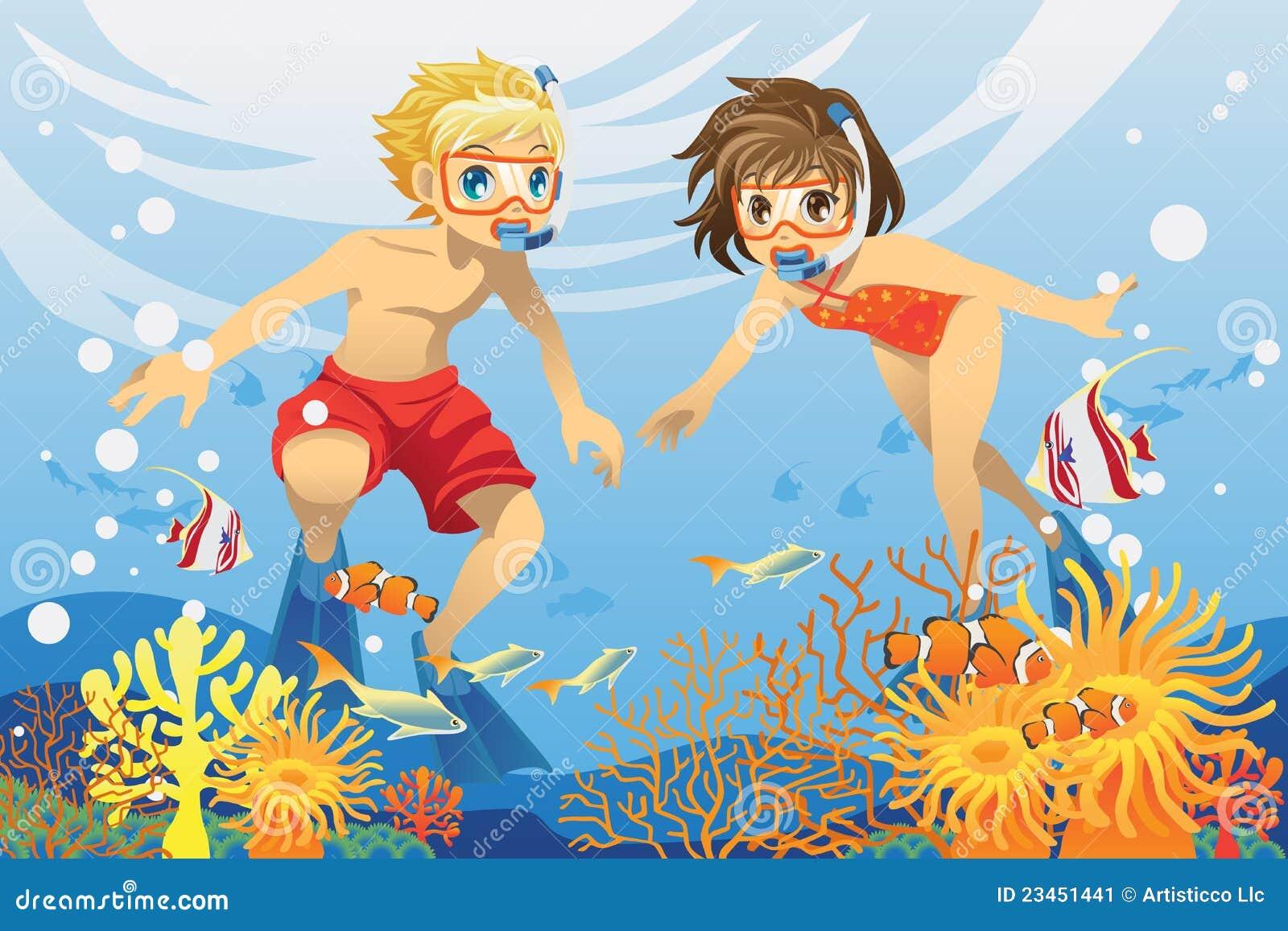 малыши плавая под водой