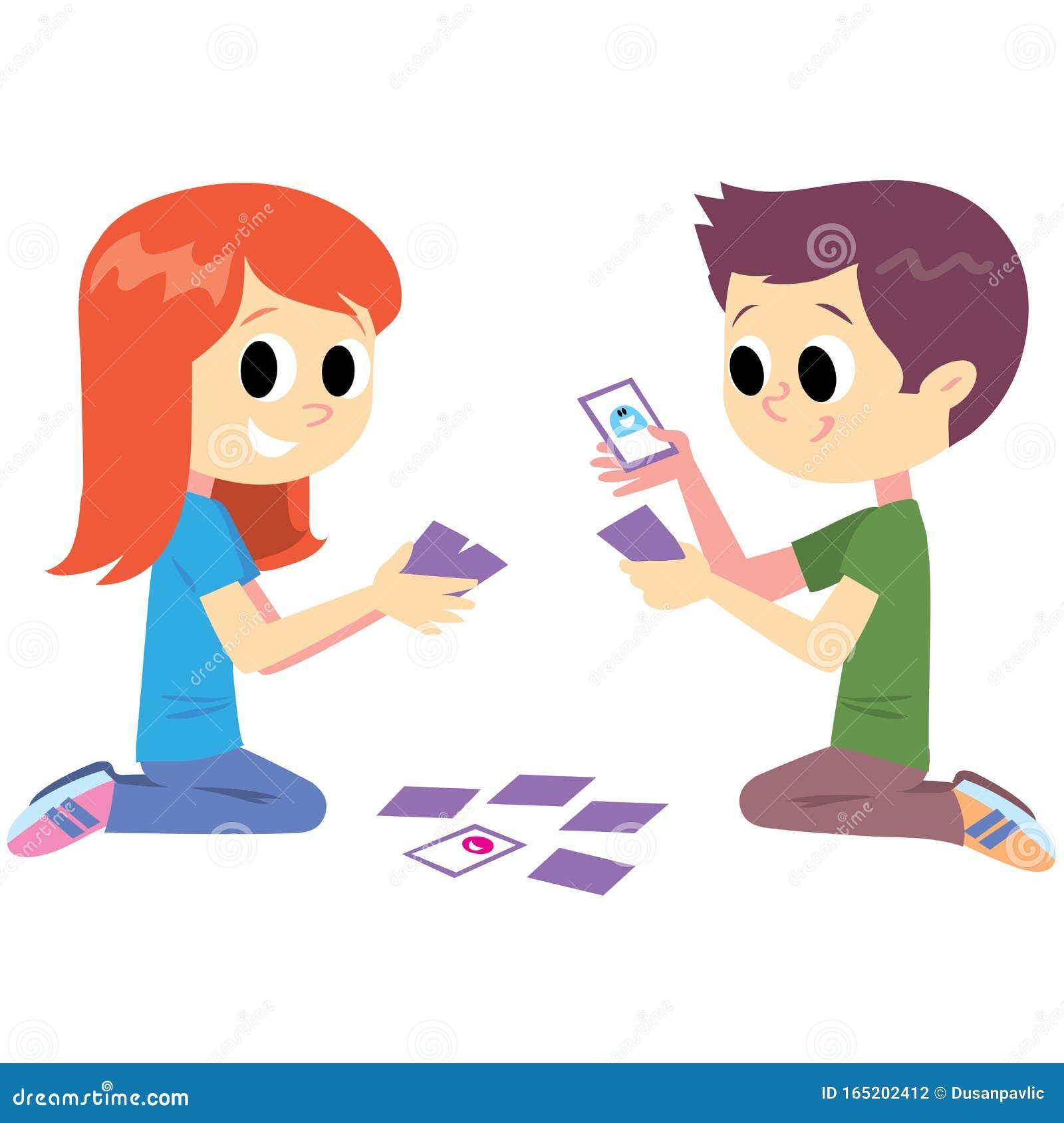 мальчик девочка играют карты