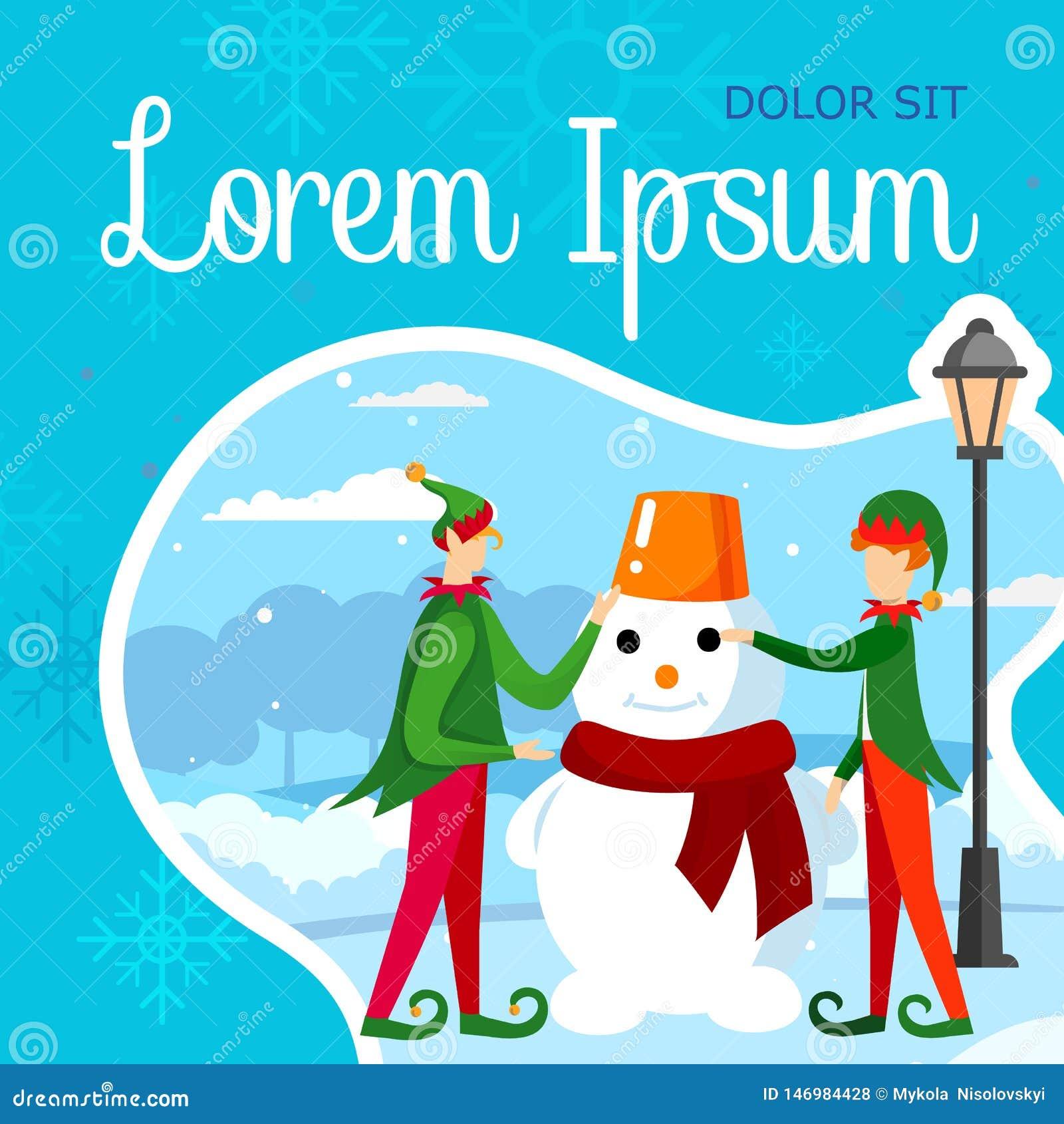 Мальчики соединяют в зеленых костюмах эльфа делая снеговик