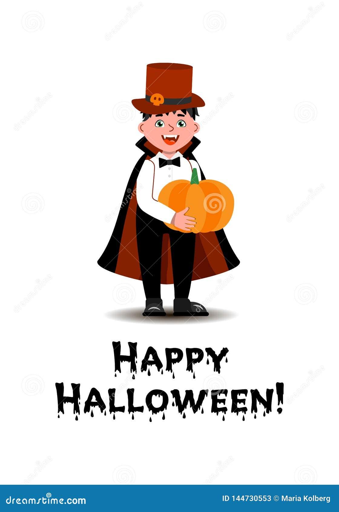 Мальчик в костюме вампира стоящ и держащ тыква в его руках