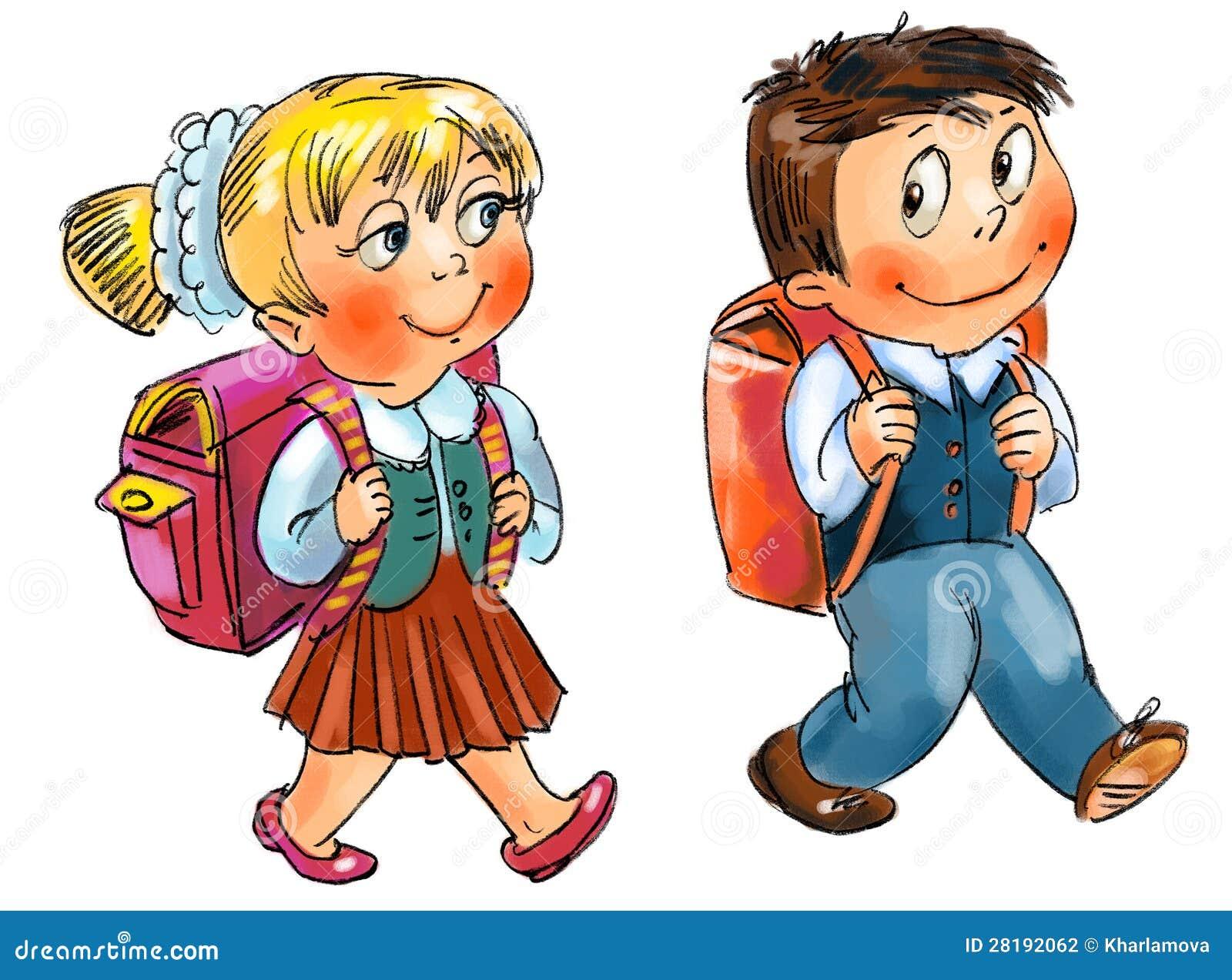 Картинка девочка и мальчик с портфелем