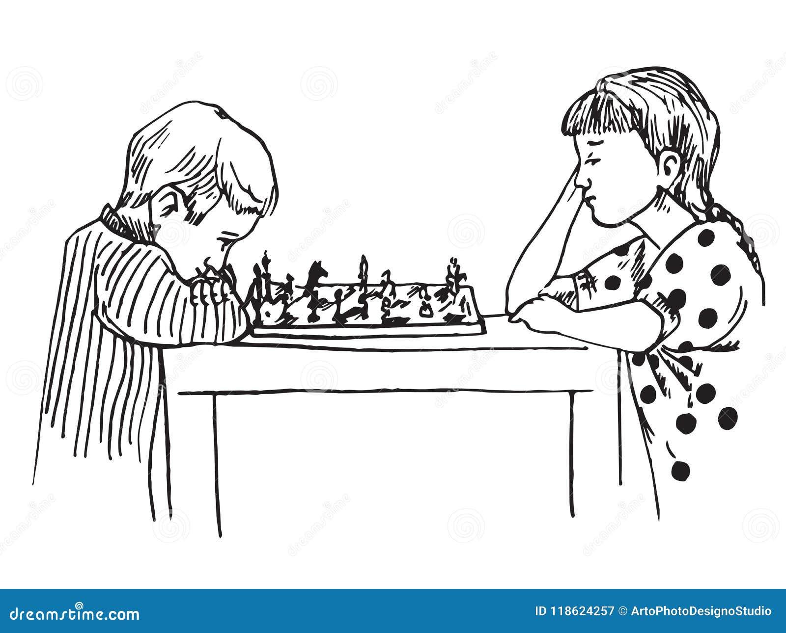 Мальчик и девушка сидя и играя шахмат