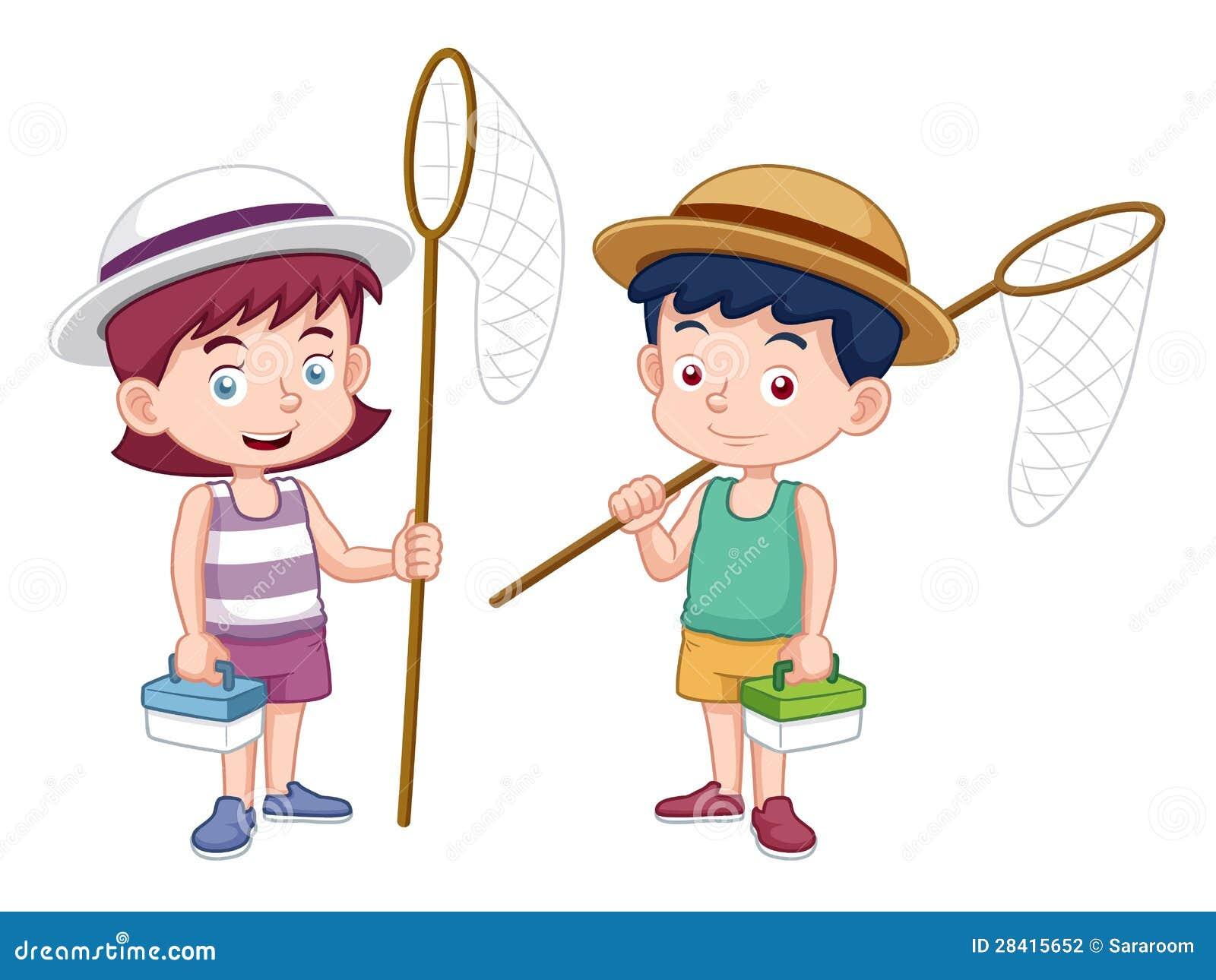 Мальчик и девушка шаржа с сетью насекомого