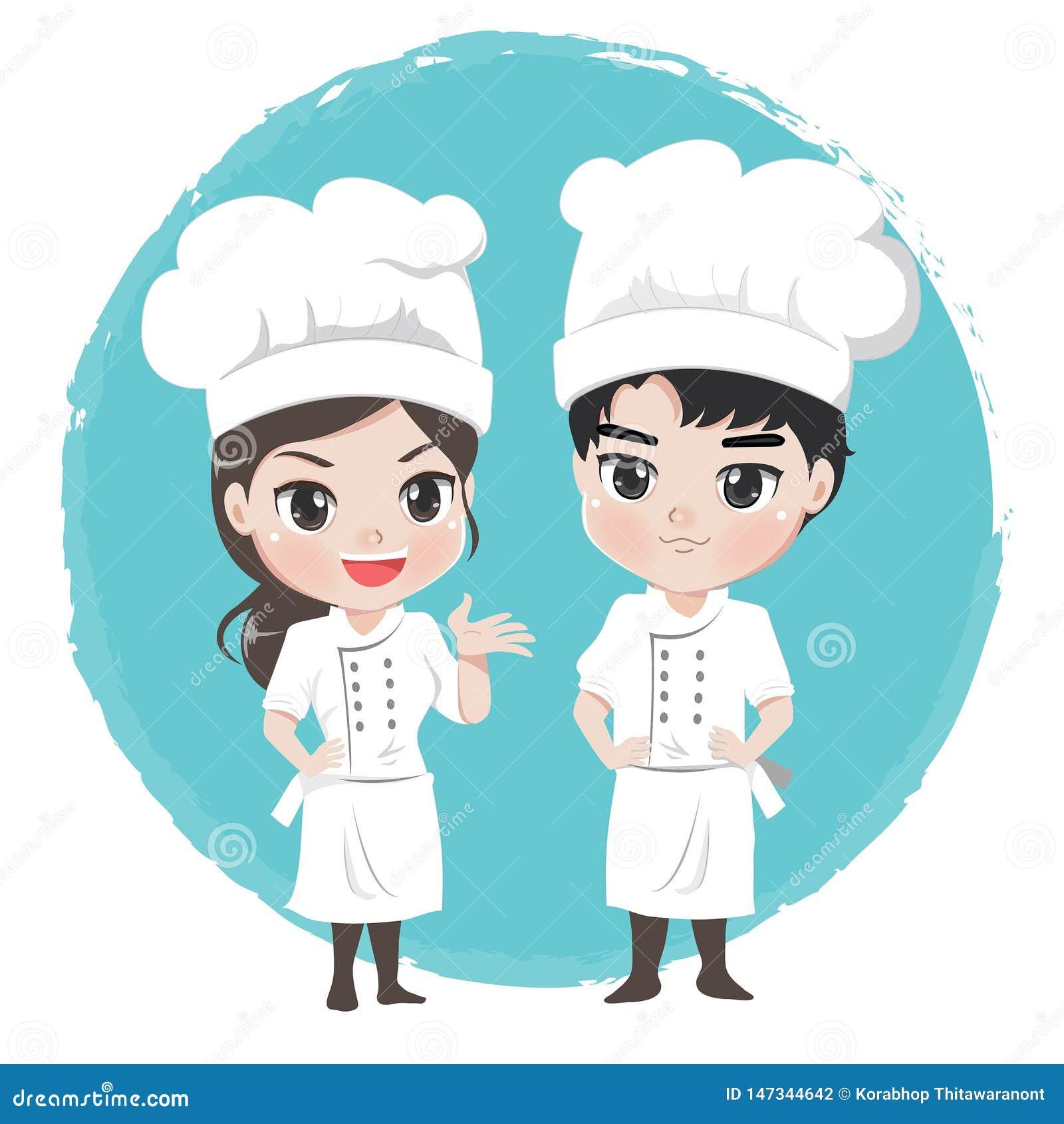 Мальчик и девушка шеф-повара характер для ресторана талисмана