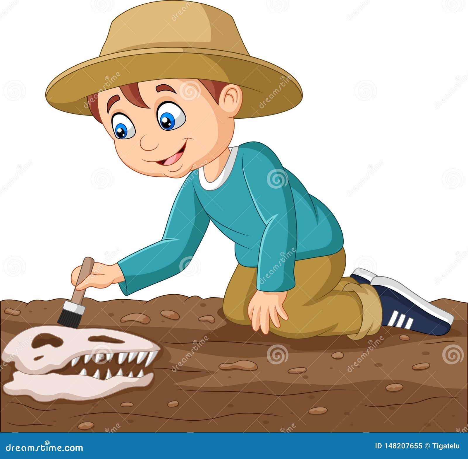 Мальчик мультфильма чистя ископаемый щеткой динозавра