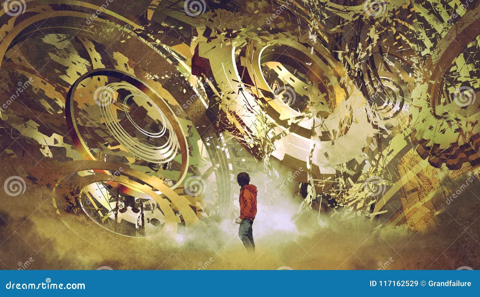 Мальчик смотря сломленные золотые шестерни