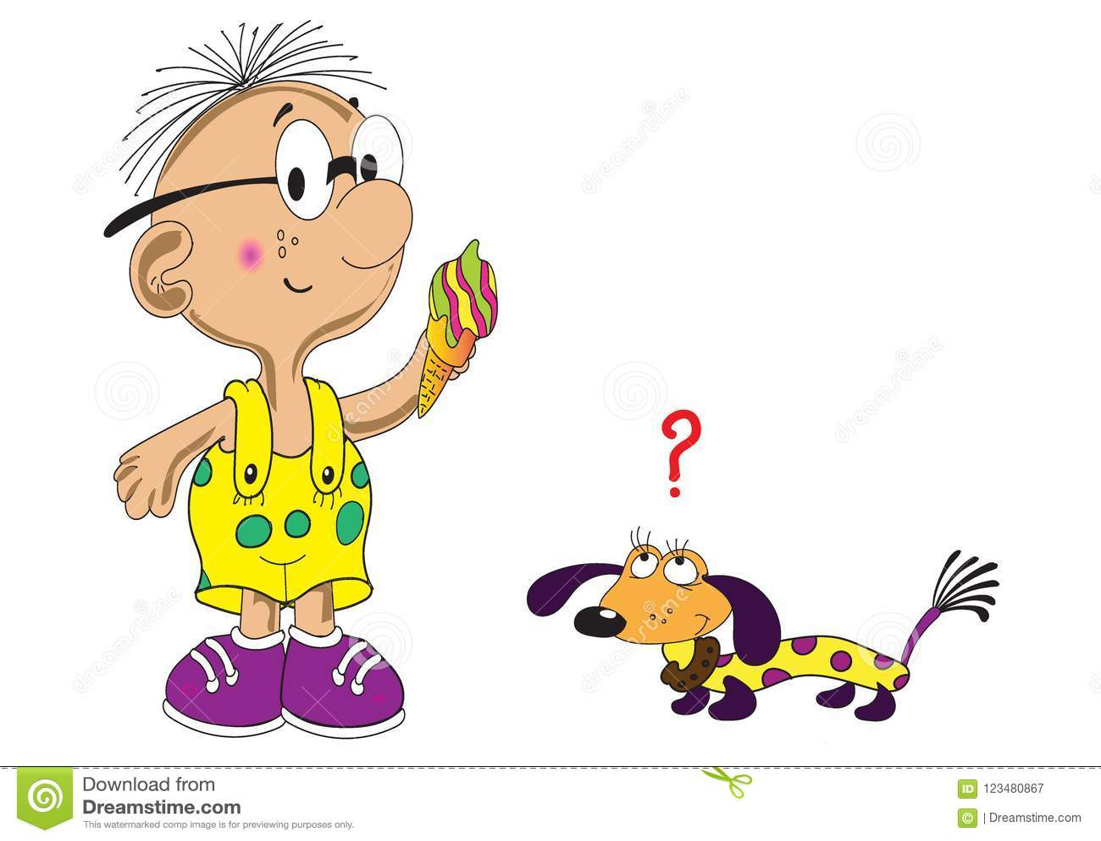 Мальчик с мороженым и опасливой собакой таксы