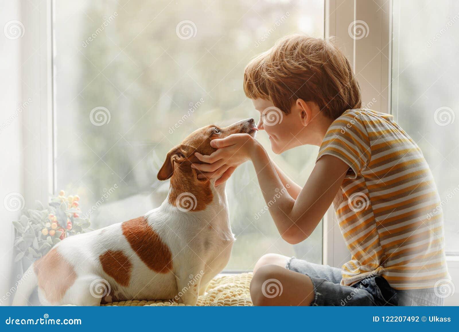 Мальчик целует собаку в носе на окне Приятельство, автомобиль