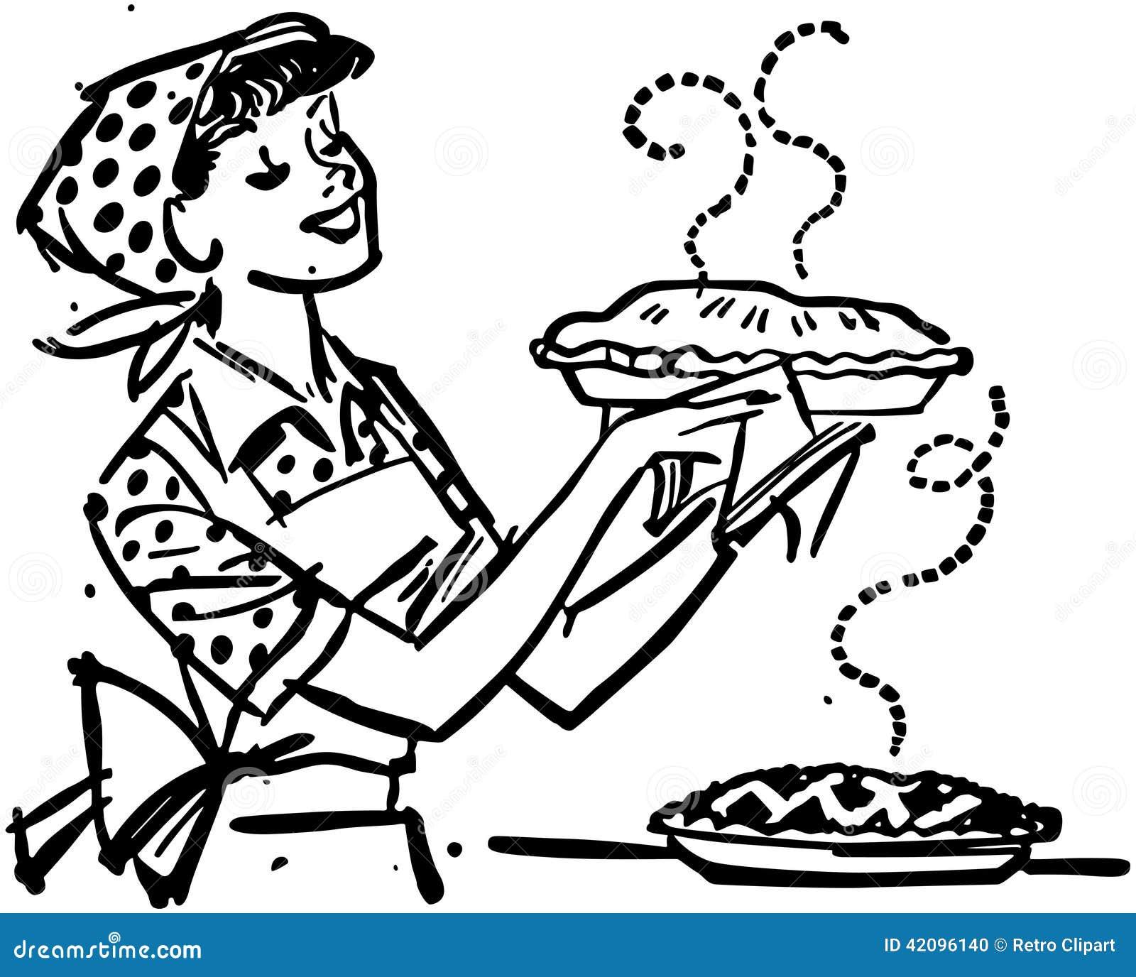 Мама с свежими испеченными пирогами