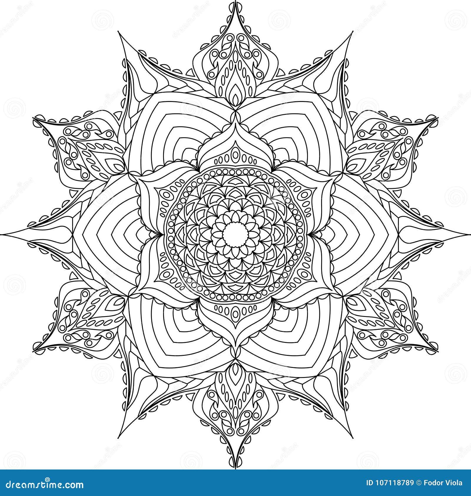 мандала плана для книжка раскраски иллюстрация вектора