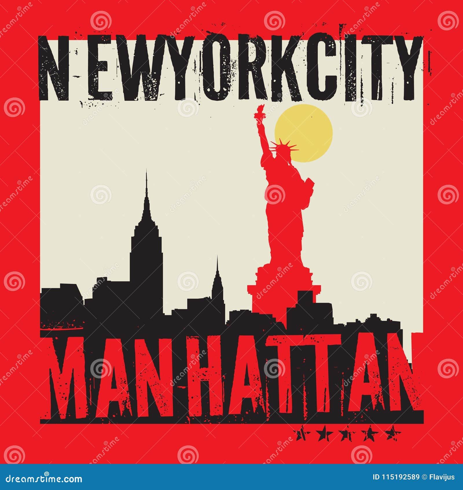 Манхаттан, Нью-Йорк, иллюстрация силуэта