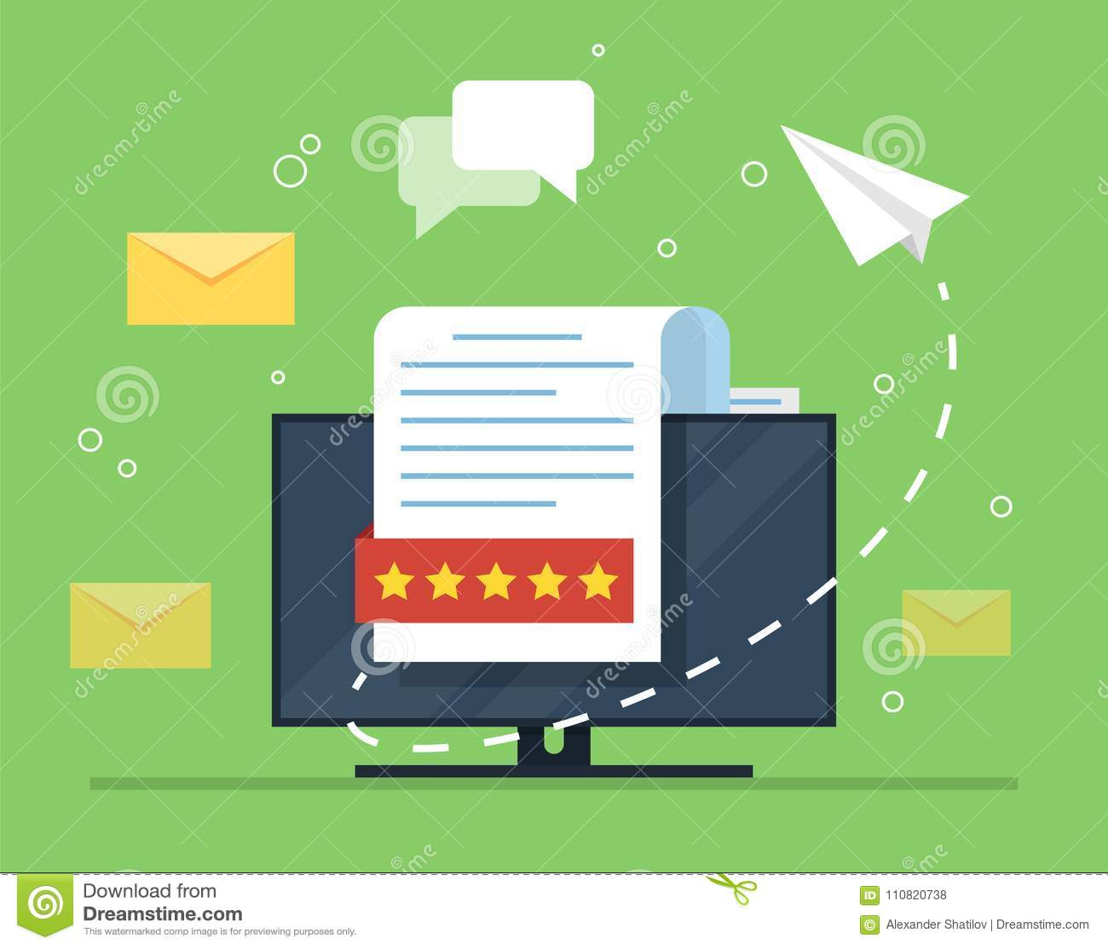 Маркетинг электронной почты Концепция открытой электронной почты с, который гнездят документом против фона монитора компьютера и