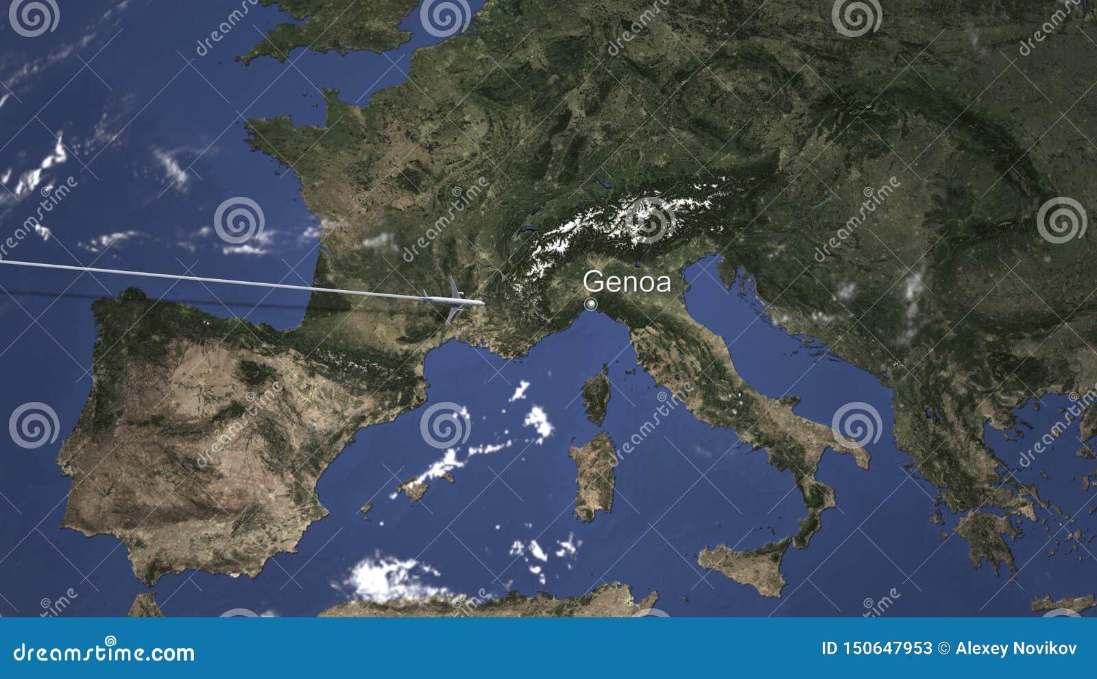 Маршрут коммерчески плоского летания к Генуе, Италии на карте r