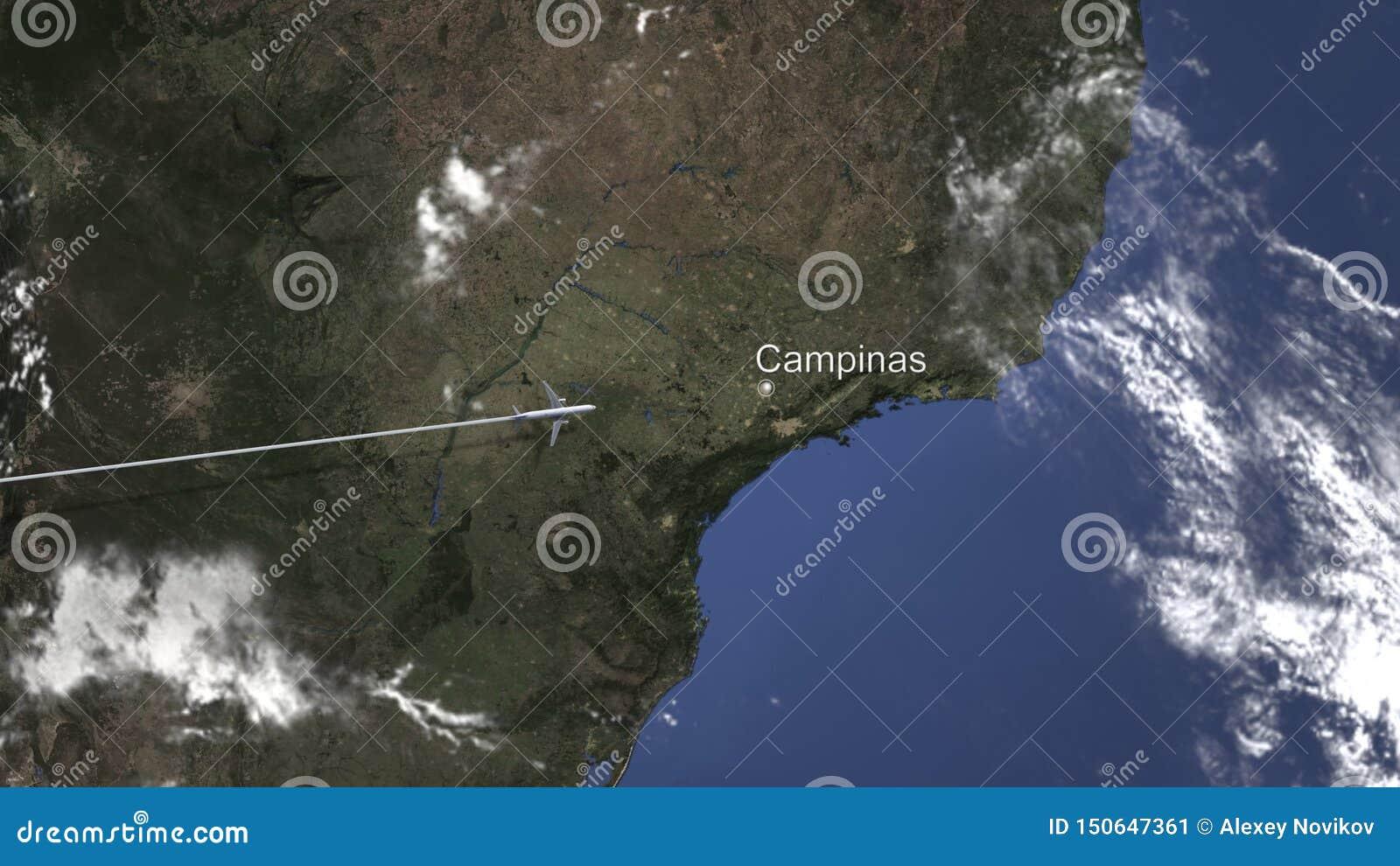 Маршрут коммерчески плоского летания к Campinas, Бразилии на карте r
