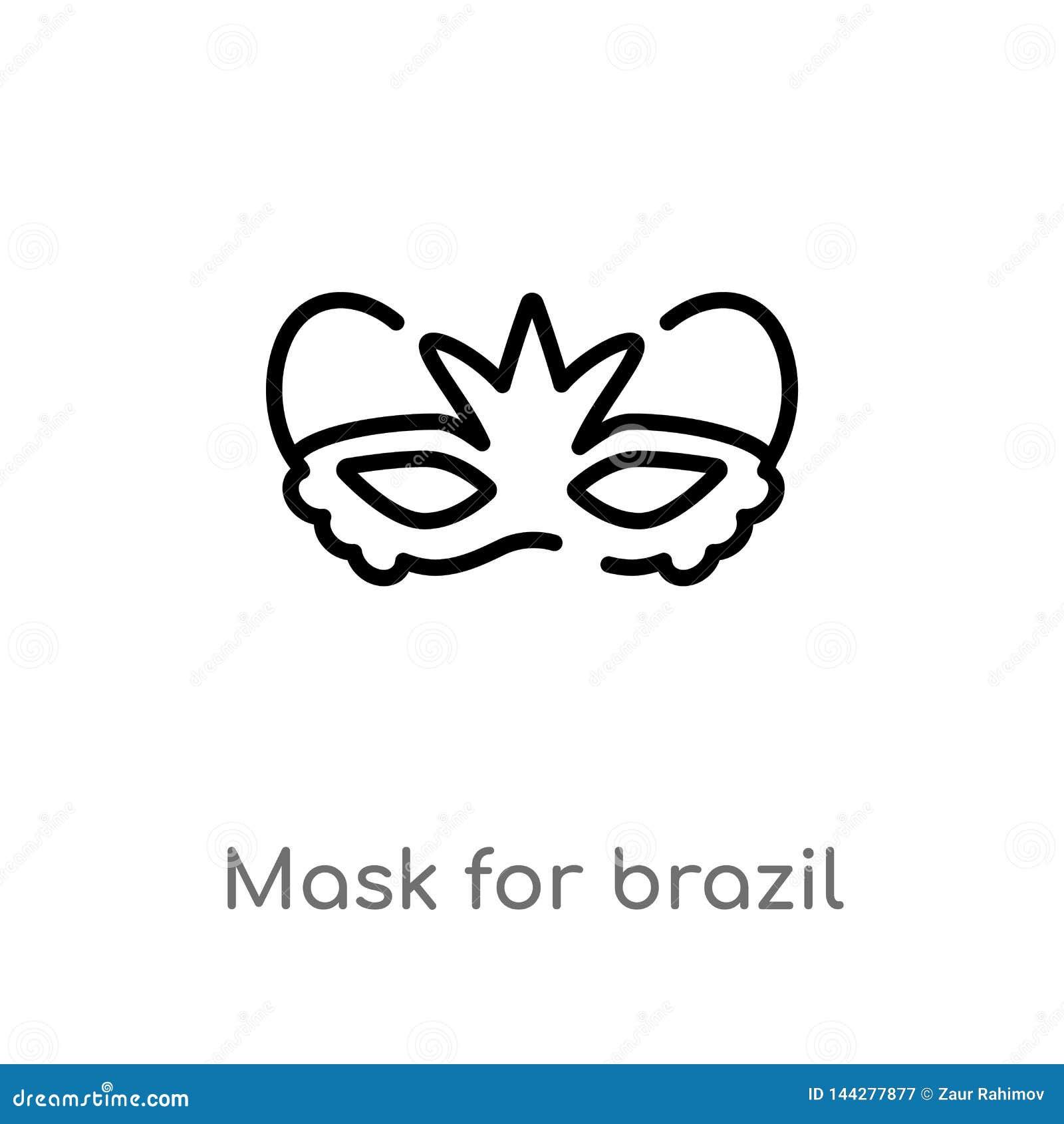 маска плана для значка вектора торжества масленицы Бразилии изолированная черная простая линия иллюстрация элемента от концепции