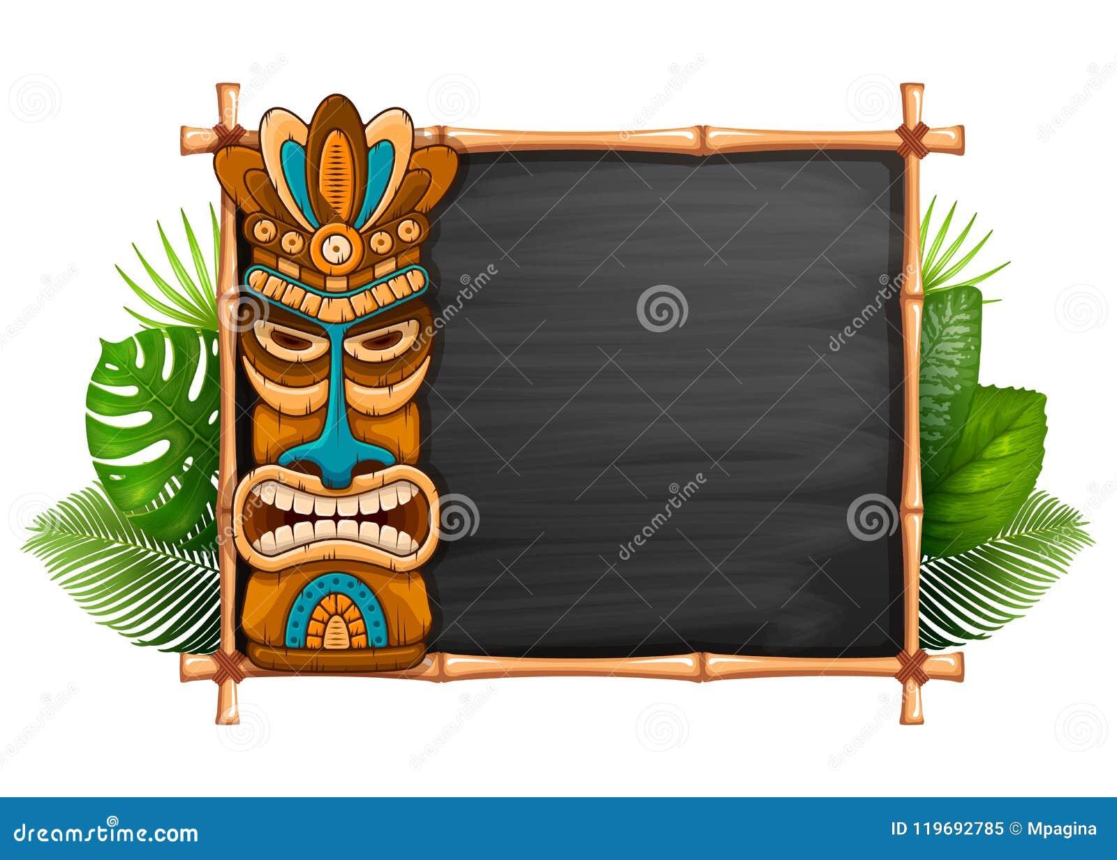 Маска Tiki и рамка бамбука