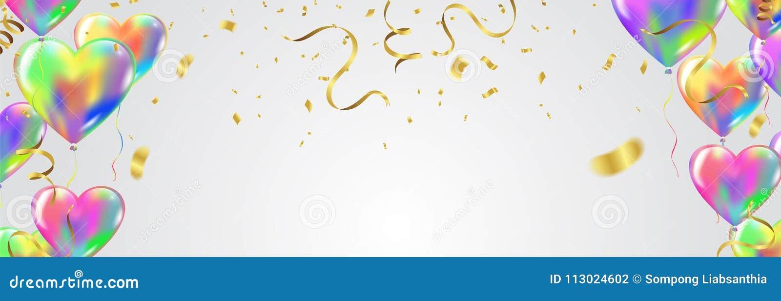 Масленица праздничный b воздушных шаров и confetti воздушных шаров сердца красочная