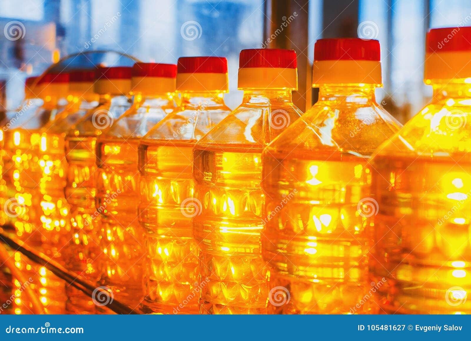 Масло в бутылках Промышленное производство подсолнечного масла транспортер