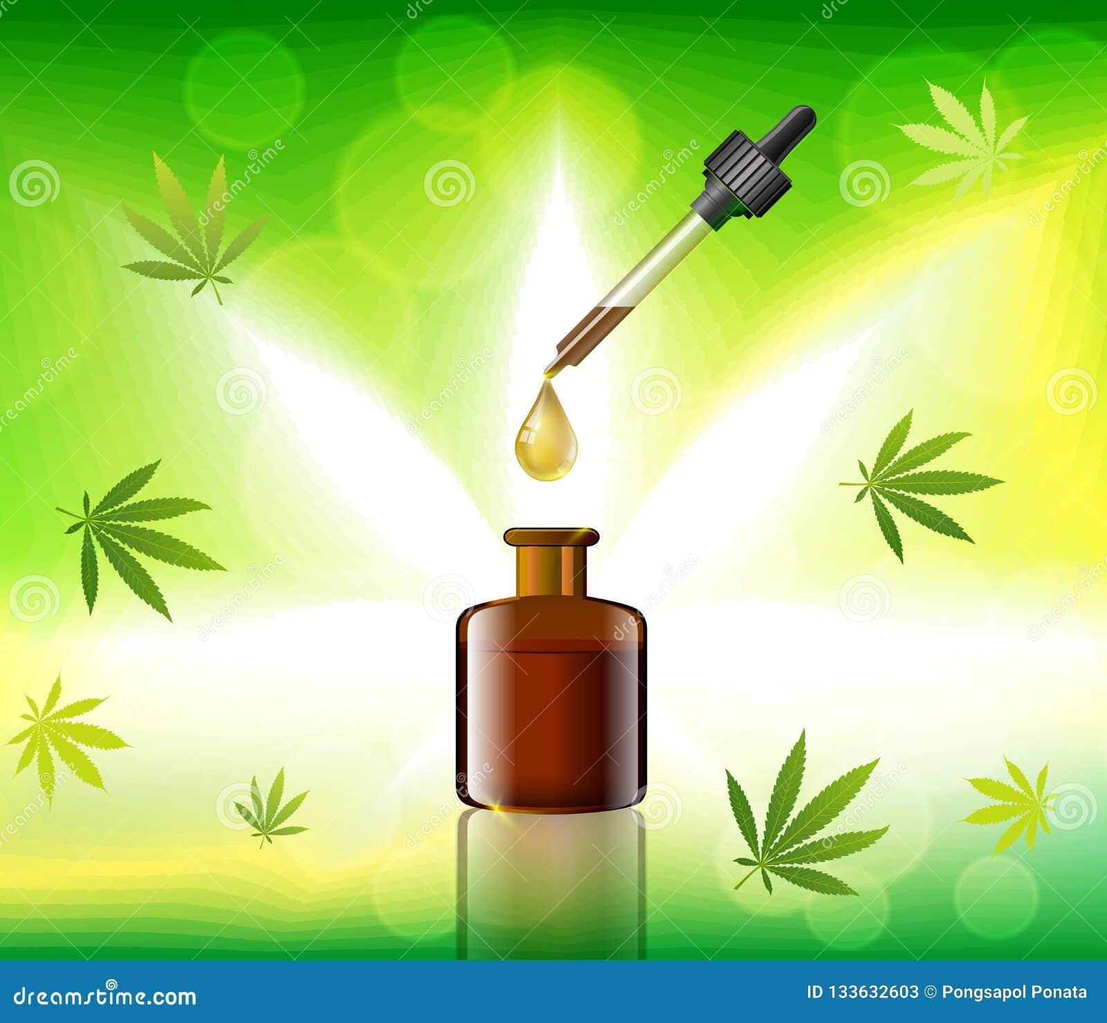 Масло конопли вектора зеленое Масло CBD Ярлык лист марихуаны Graphi