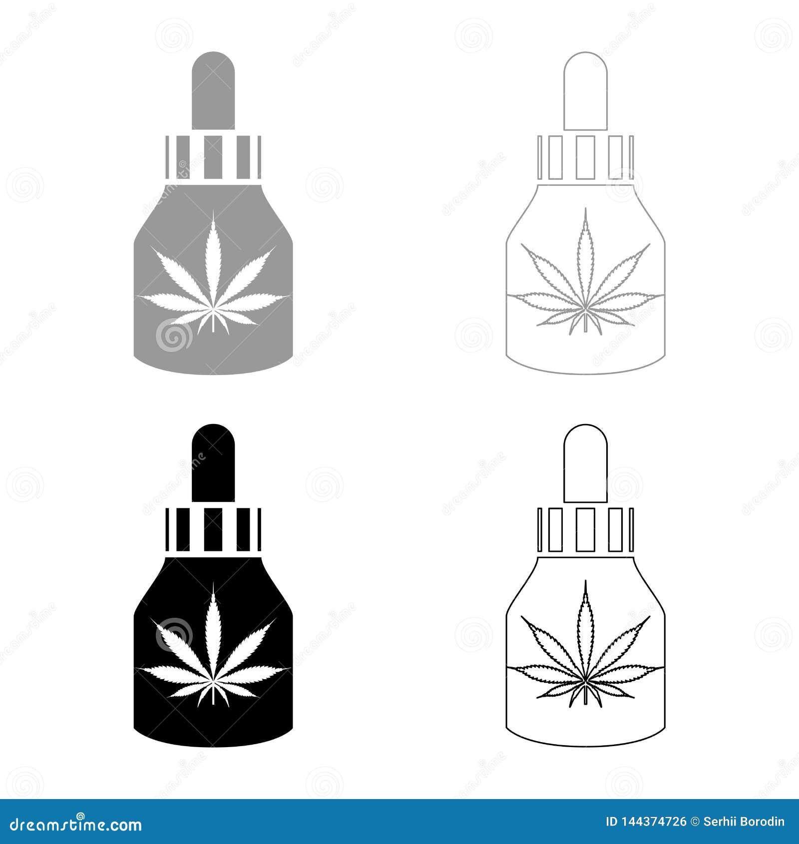 Масло медицины марихуаны к значку склянки фермы конопли марихуаны CBD установило изображение стиля черной иллюстрации вектора цве