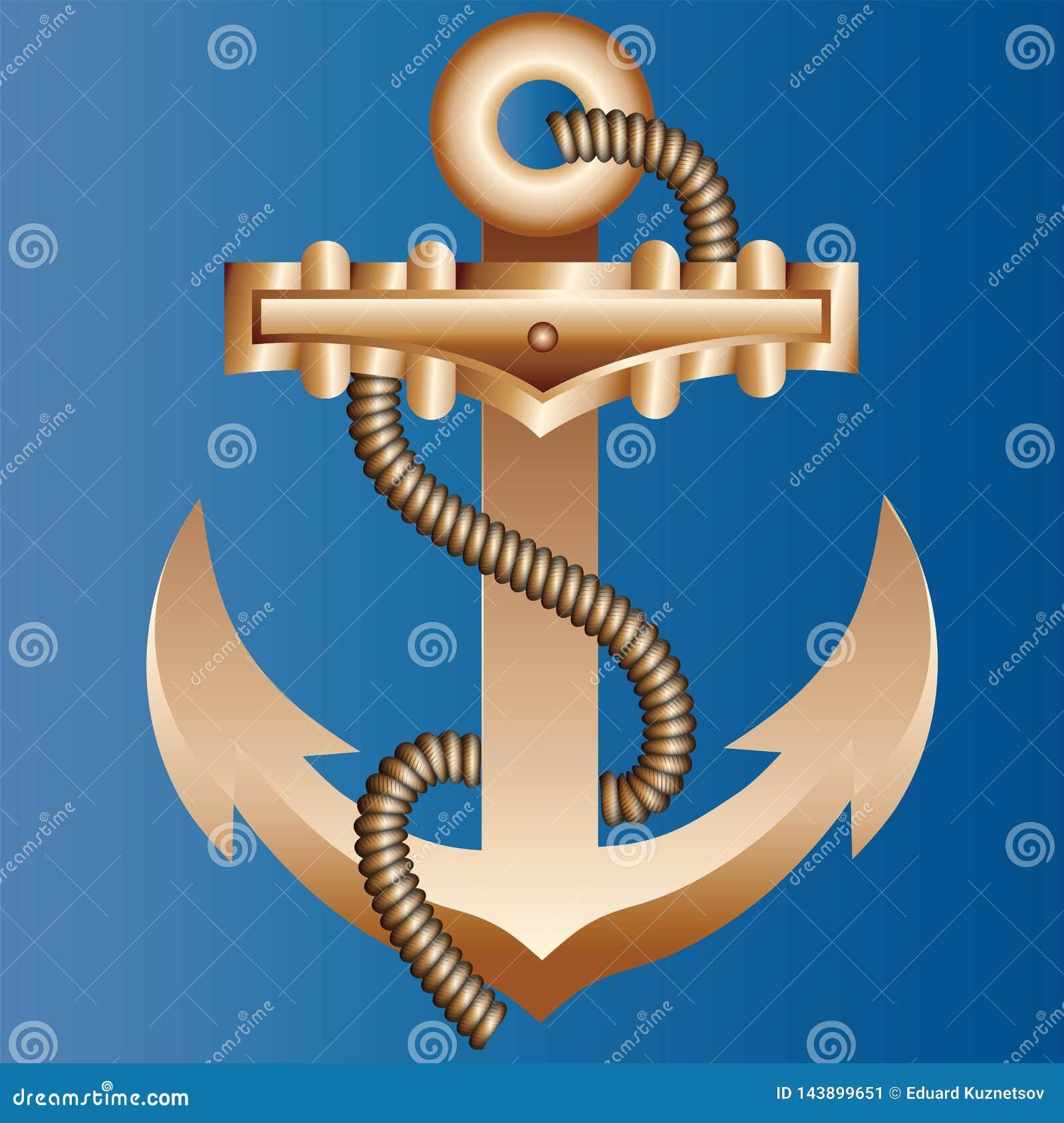 Массивный анкер корабля золота заплетенный с толстой hempen веревочкой на яркой голубой предпосылке цвета морской воды