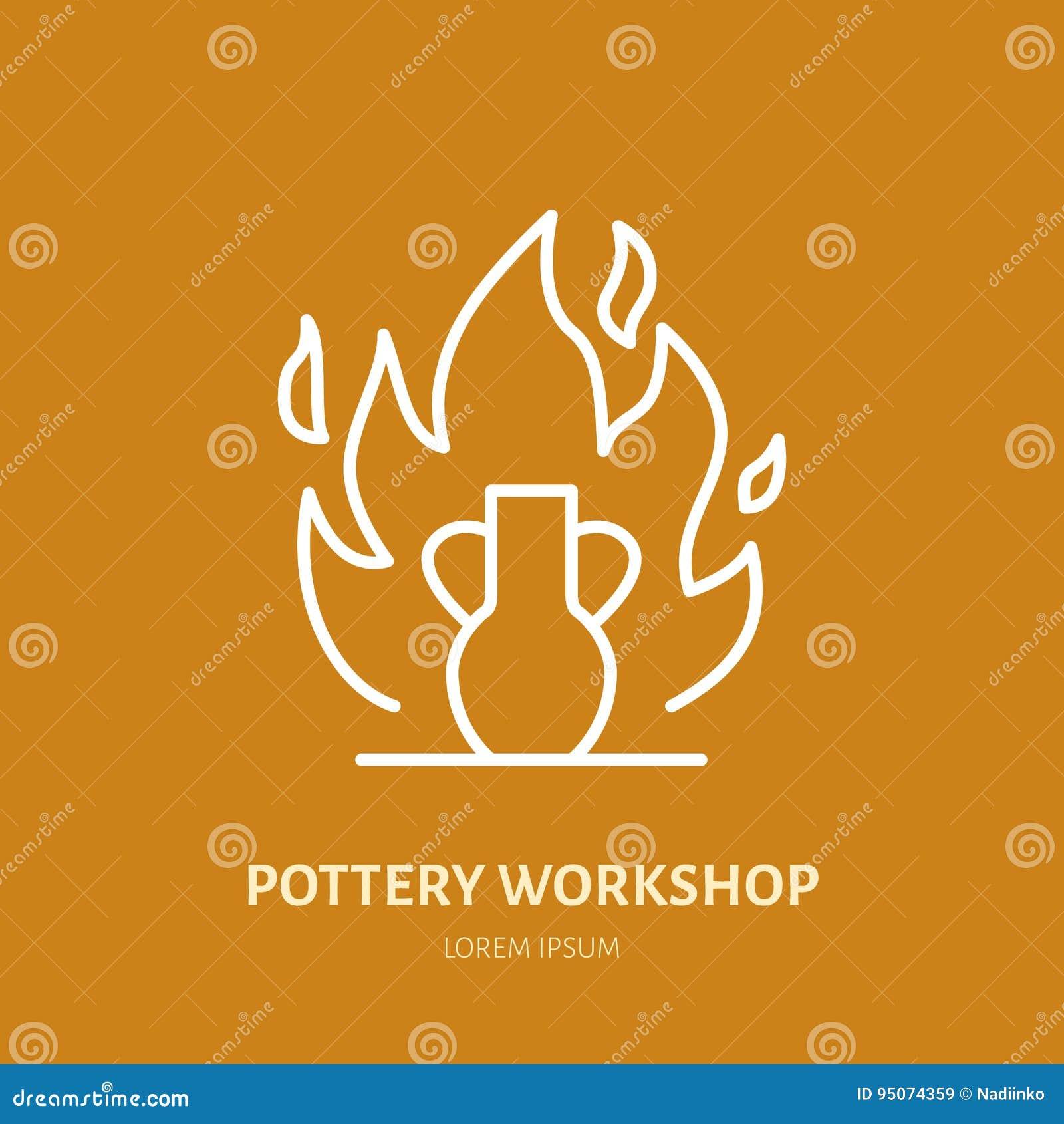 Мастерская гончарни, керамика классифицирует линию значок Студия глины оборудует знак Здание руки, ваяя знак магазина оборудовани