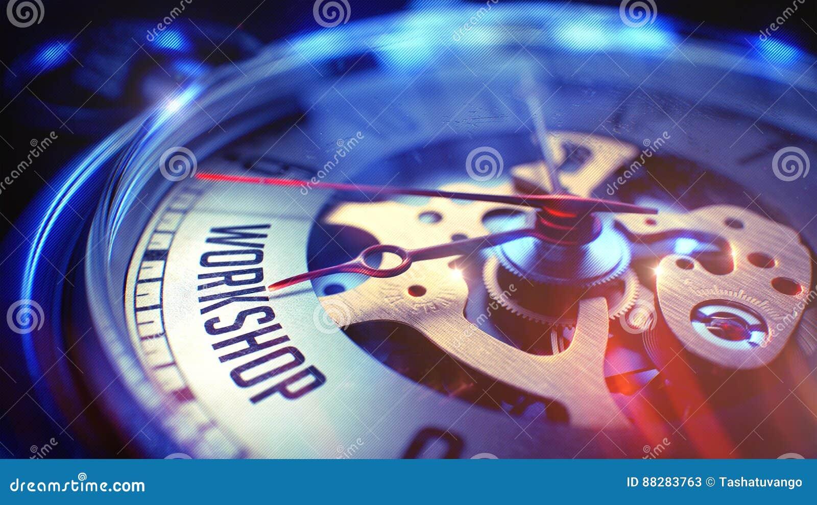 Мастерская - надпись на винтажных карманных часах 3d