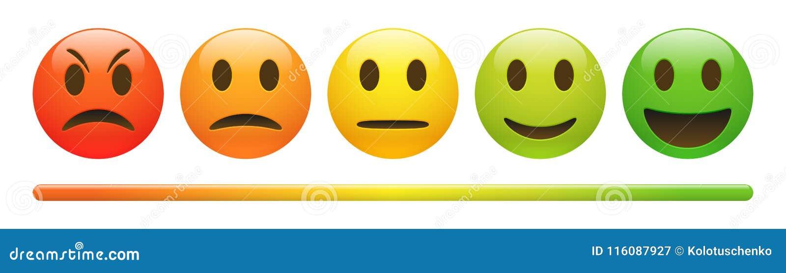 Масштаб обратной связи эмоции вектора на белой предпосылке