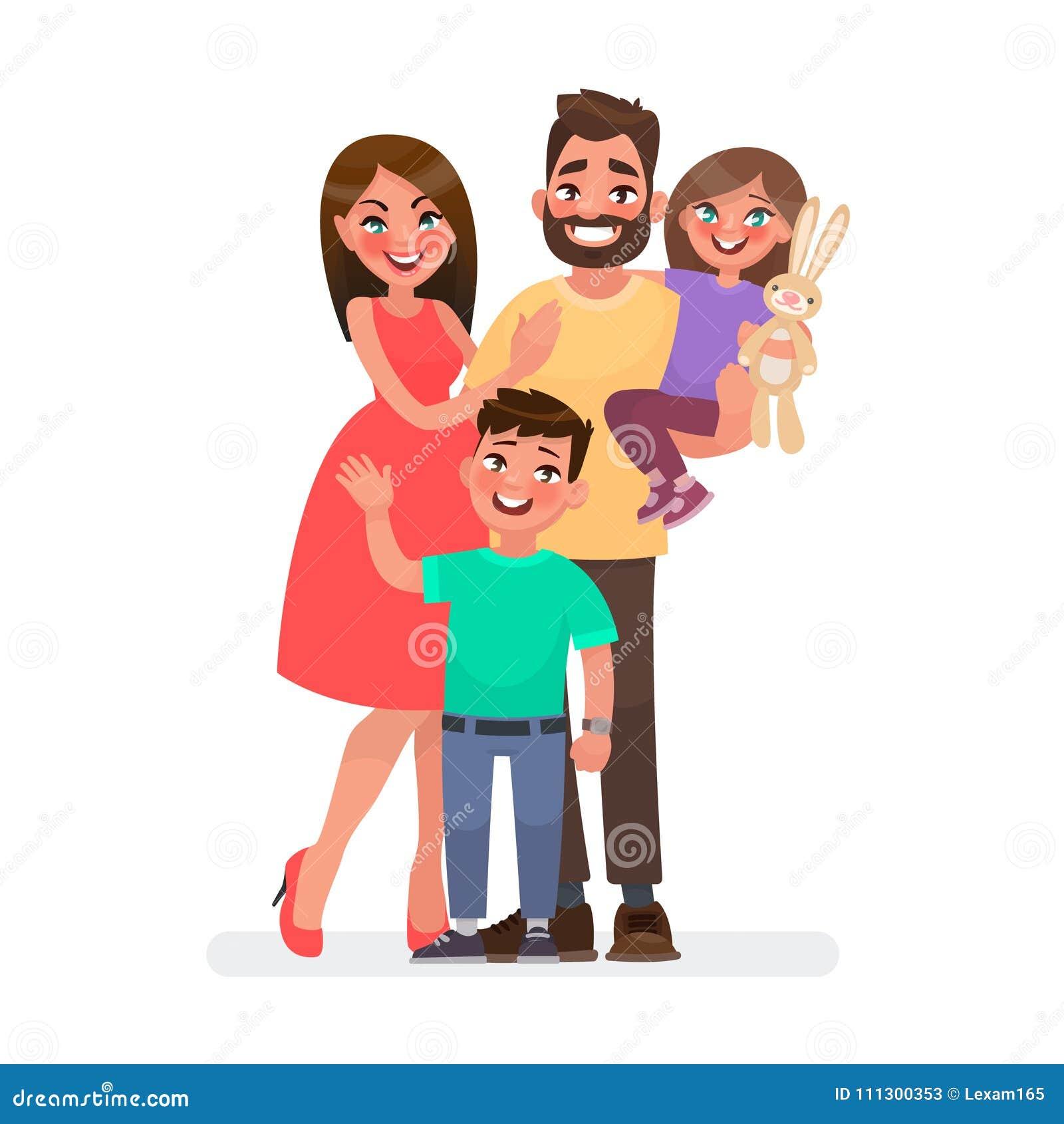 Счастливая семья: мать, отец, дети сын и дочь на Sunse Стоковое ... | 1390x1300