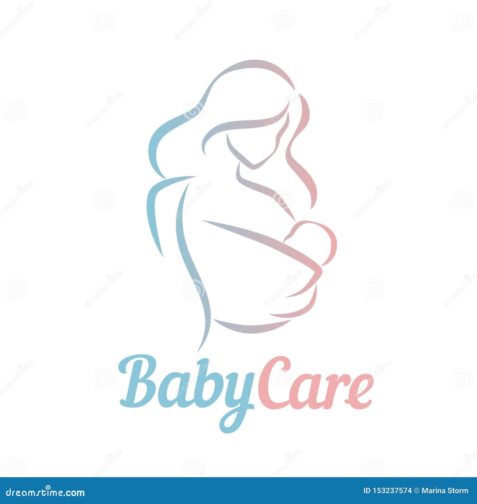 Мать с ребенком в символе в простых линиях, логотипе вектора слинга младенца, значке