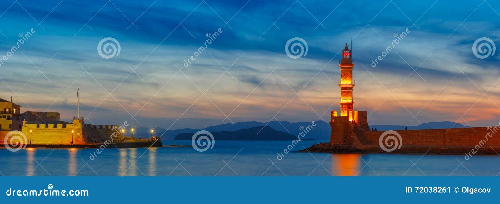 Маяк на заходе солнца, Chania, Крит, Греция