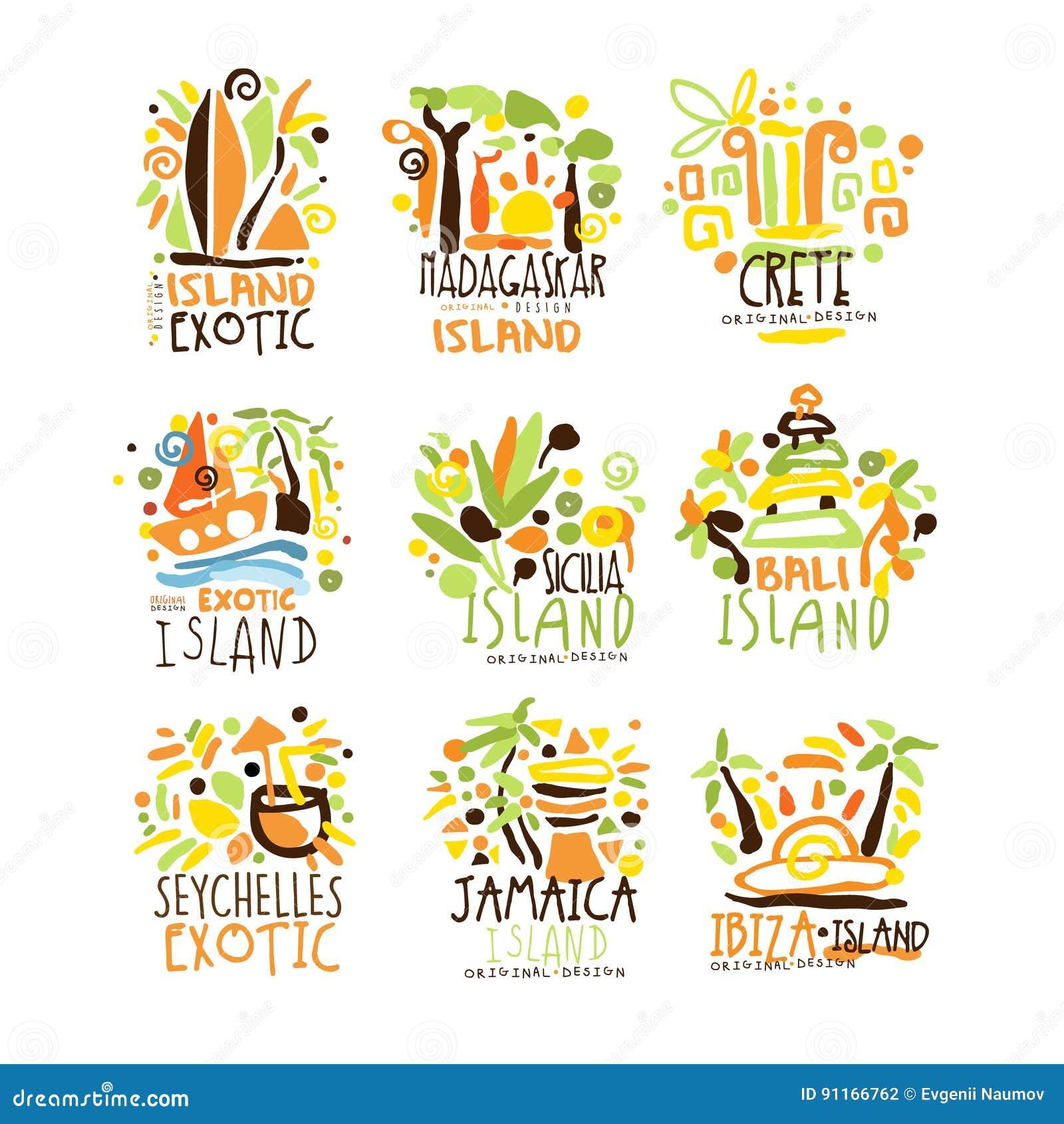 Мадагаскар, Крит, Бали, Сейшельские островы, Ibiza, комплект курорта ямайки для дизайна ярлыка Туризм пляжа лета и вектор остатко