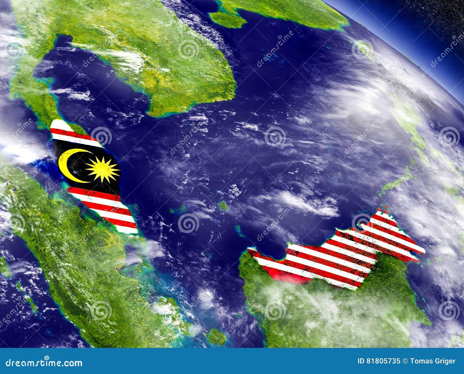 Малайзия с врезанным флагом на земле