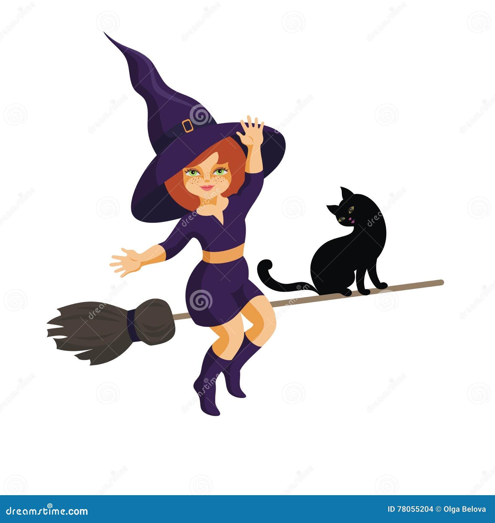Прикольные картинки изображением ведьмочки рыжей с двумя котами, картинки