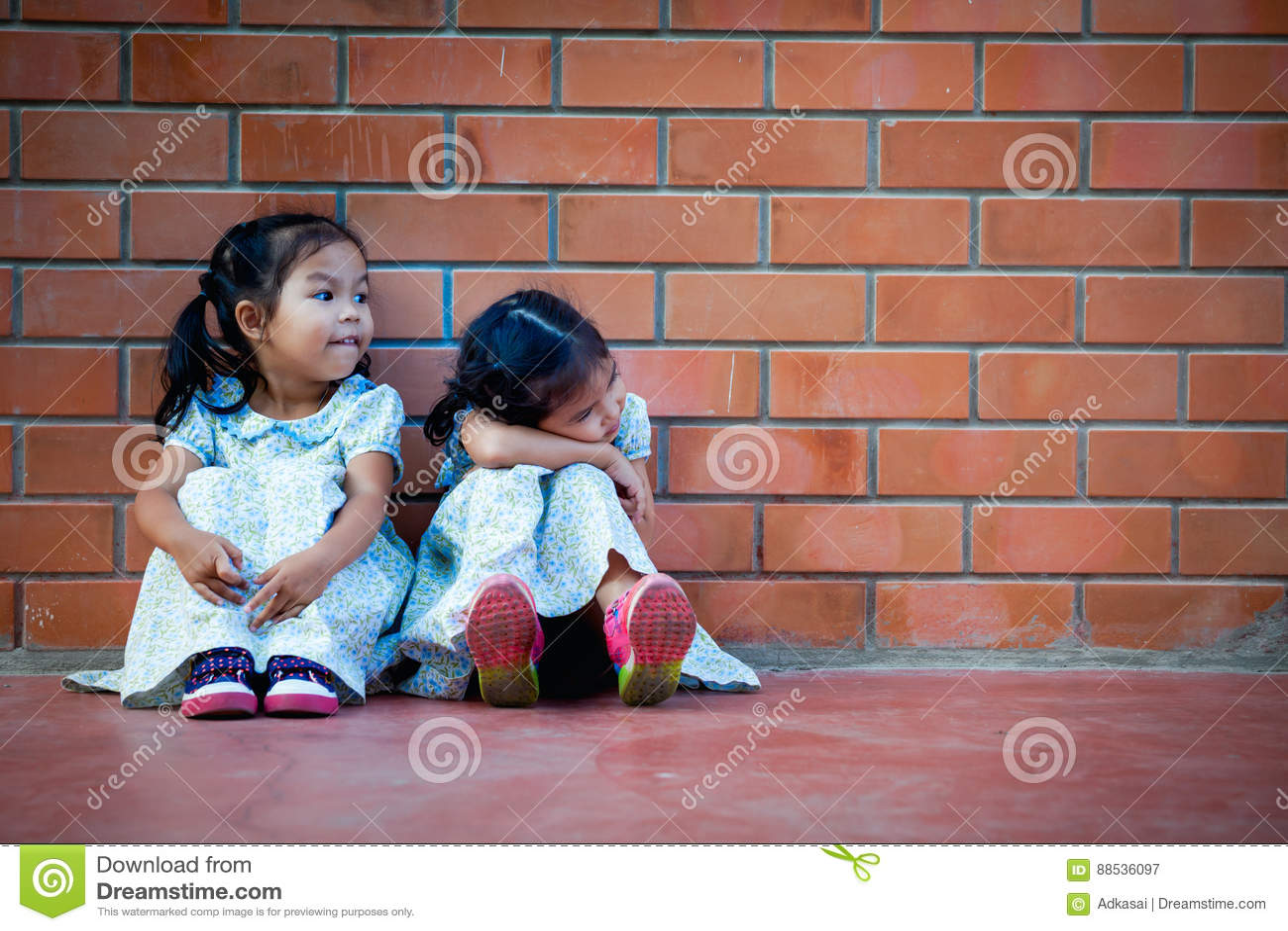 Маленькая девочка Азии сидя с другом на предпосылке кирпичной стены