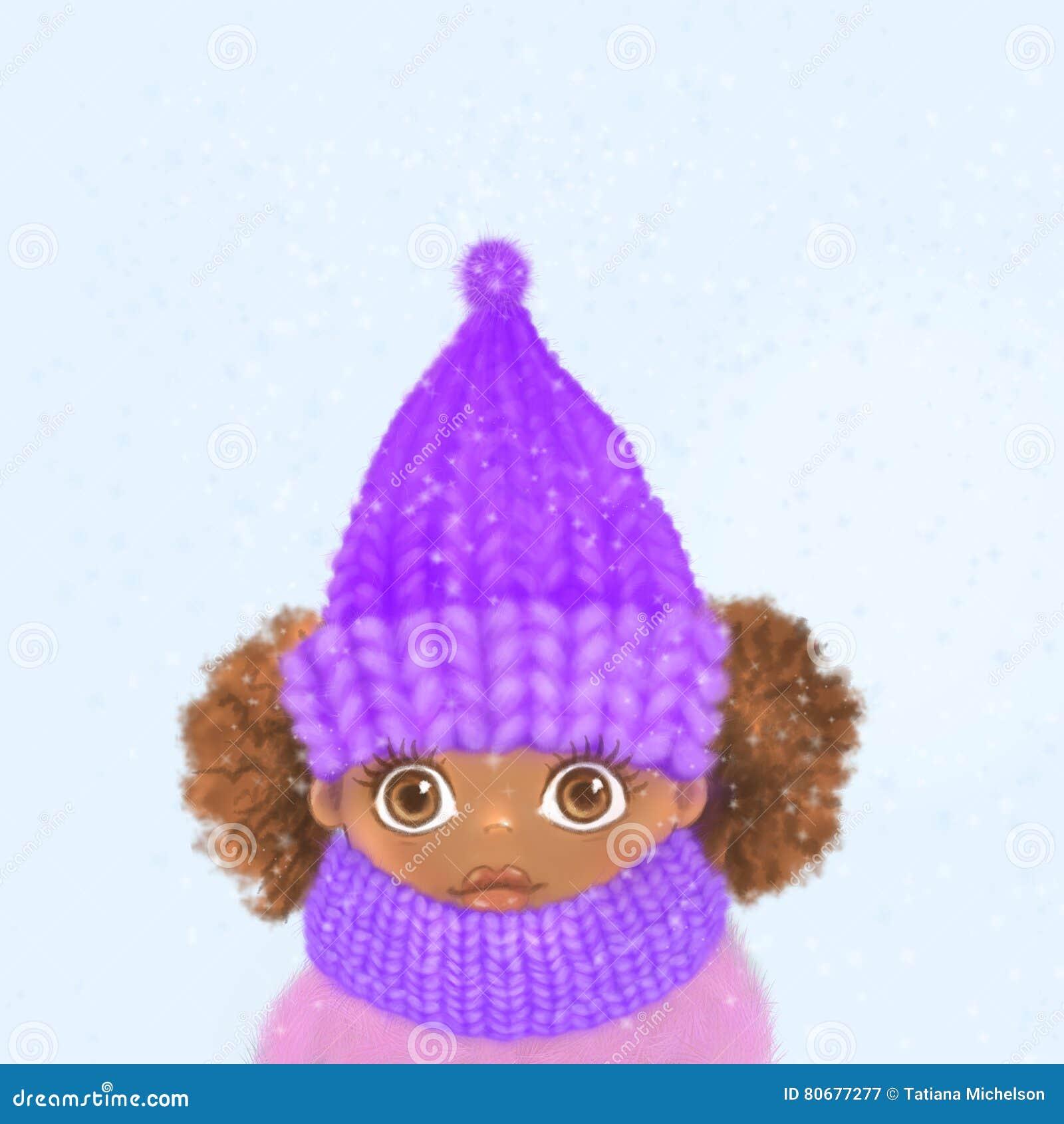 Маленькая темнокожая девушка в связанной шляпе