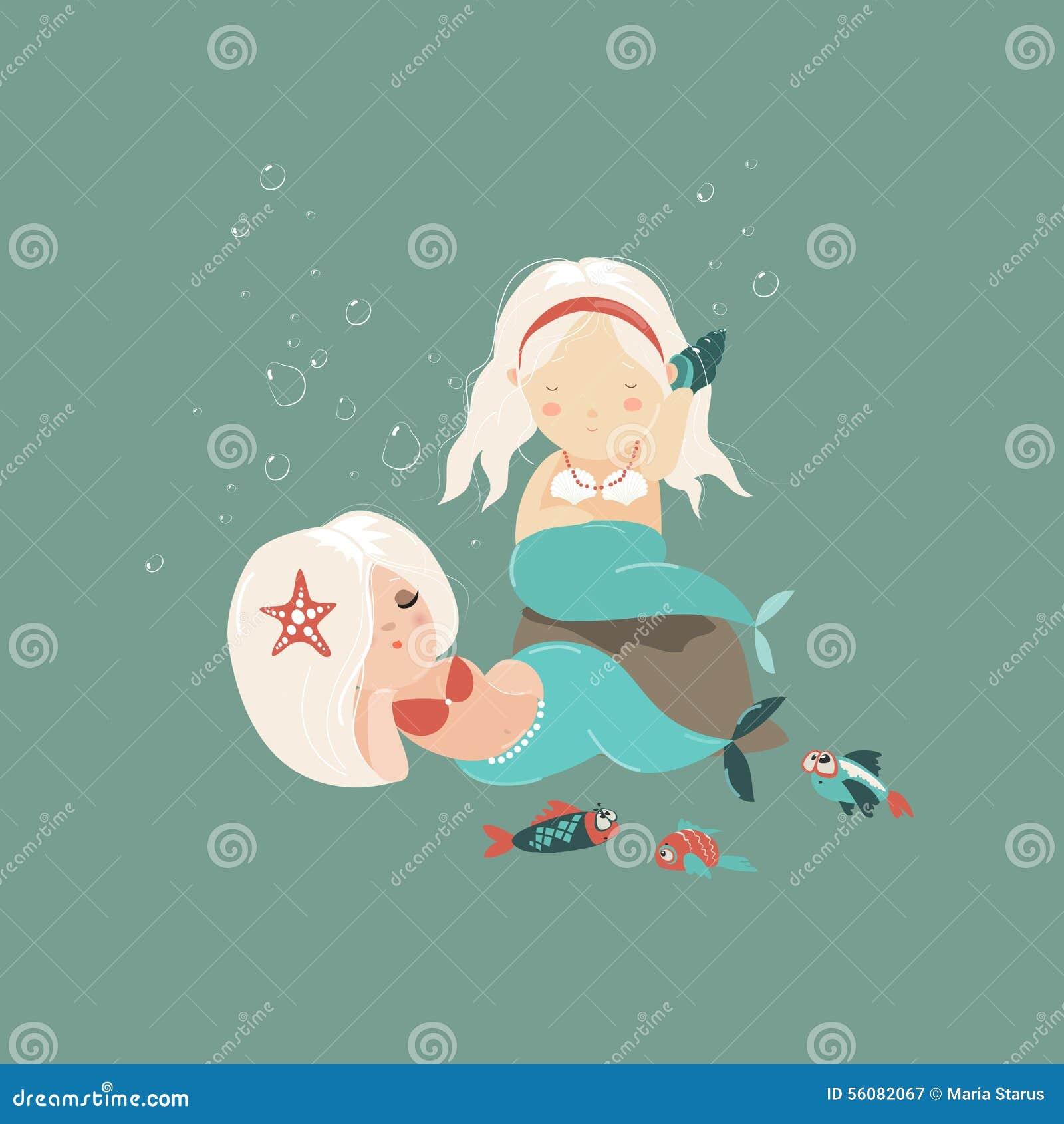 2 маленьких красивых девушки русалки